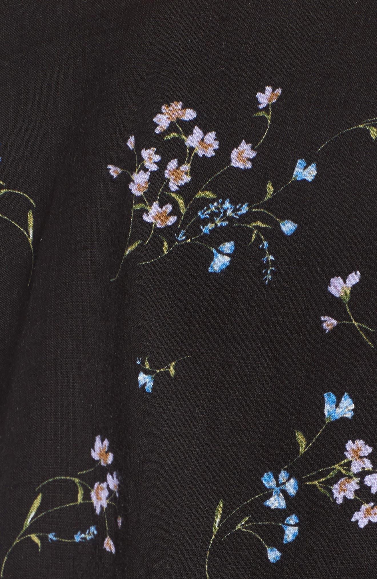 Popover Wrap Front Dress,                             Alternate thumbnail 5, color,                             Black Floral