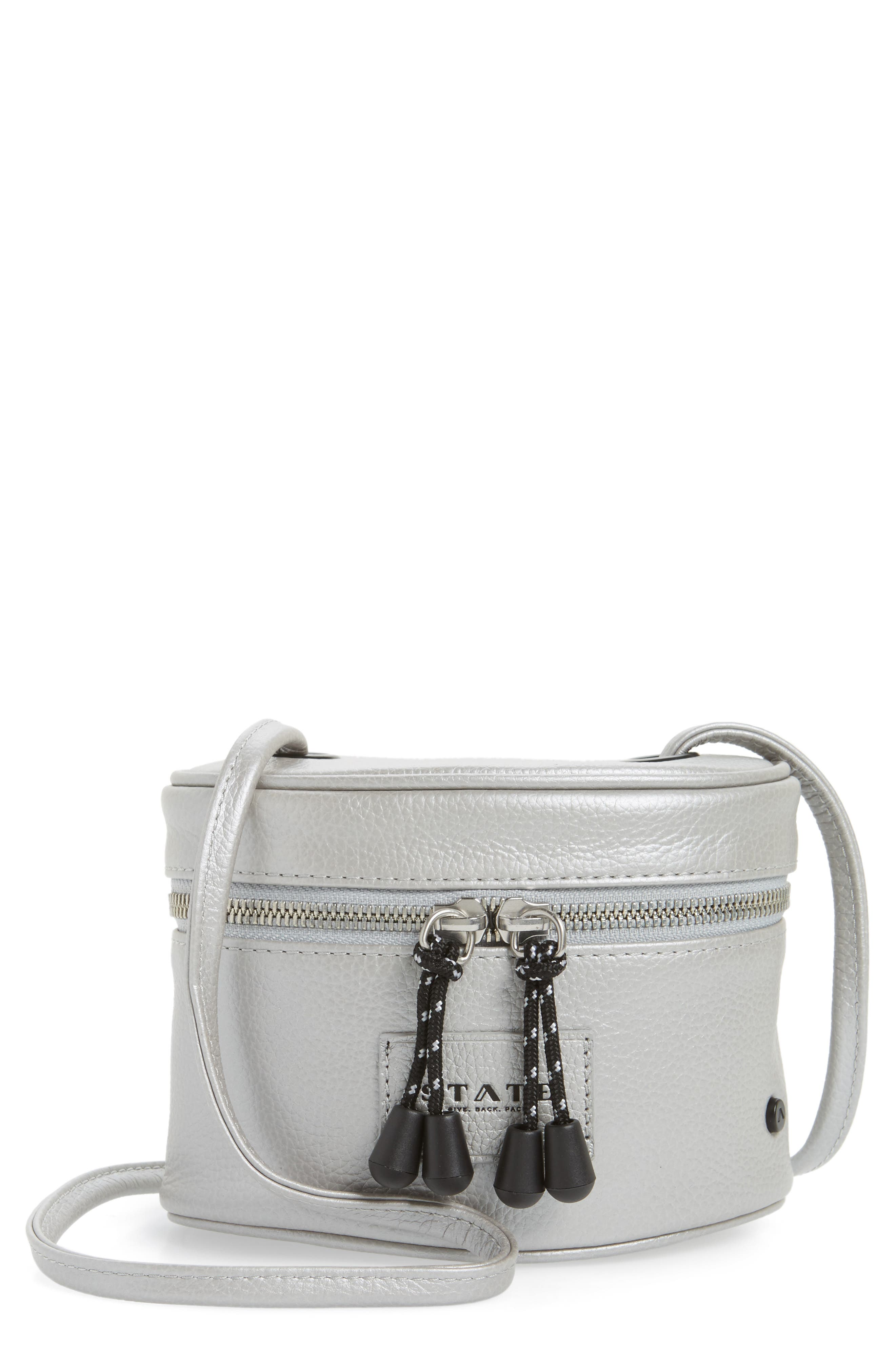 Greenwood Autumn Leather Crossbody Bag,                             Main thumbnail 1, color,                             Silver