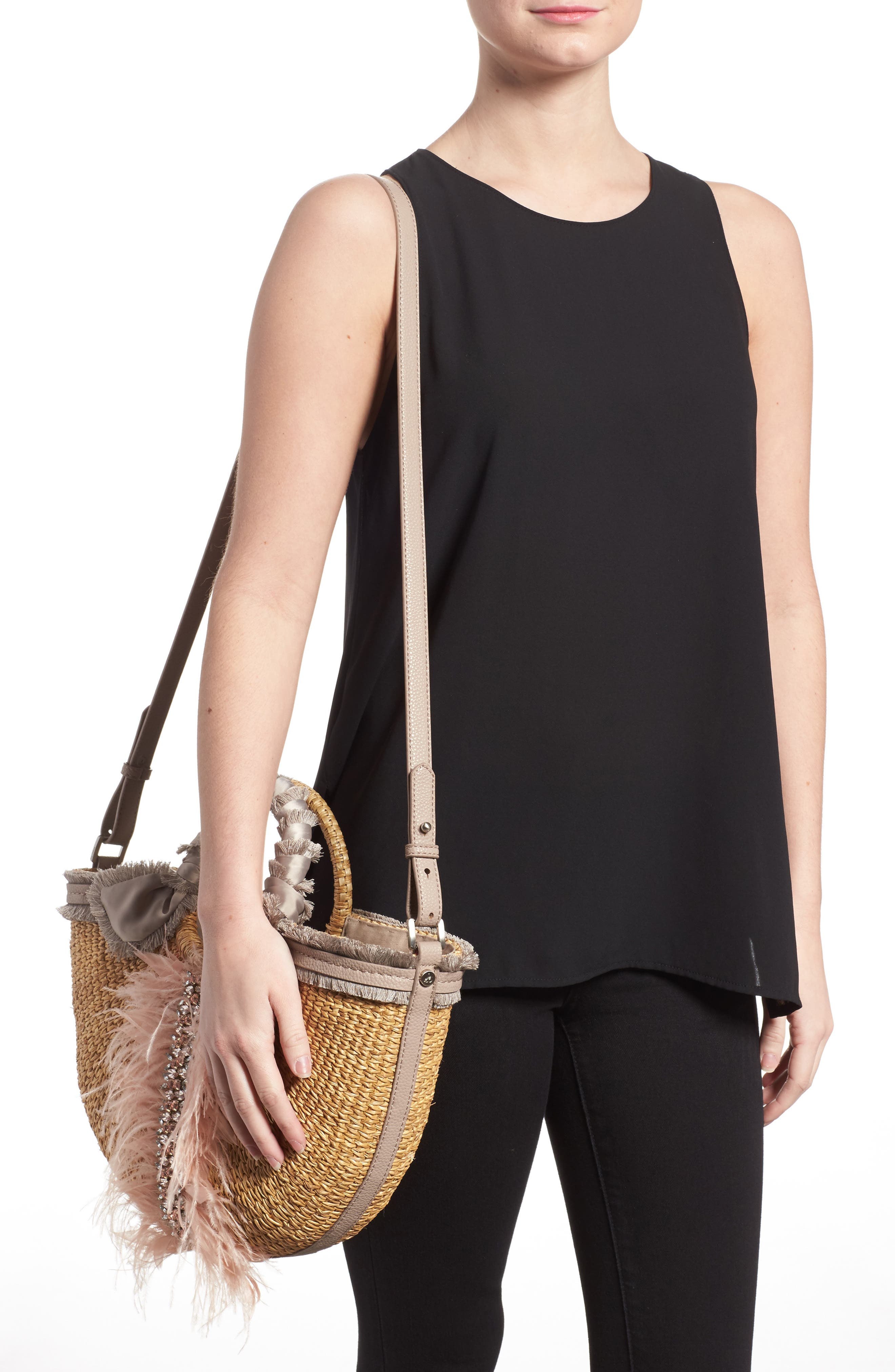 Idina Feather Straw Tote,                             Alternate thumbnail 2, color,                             Pink Multi