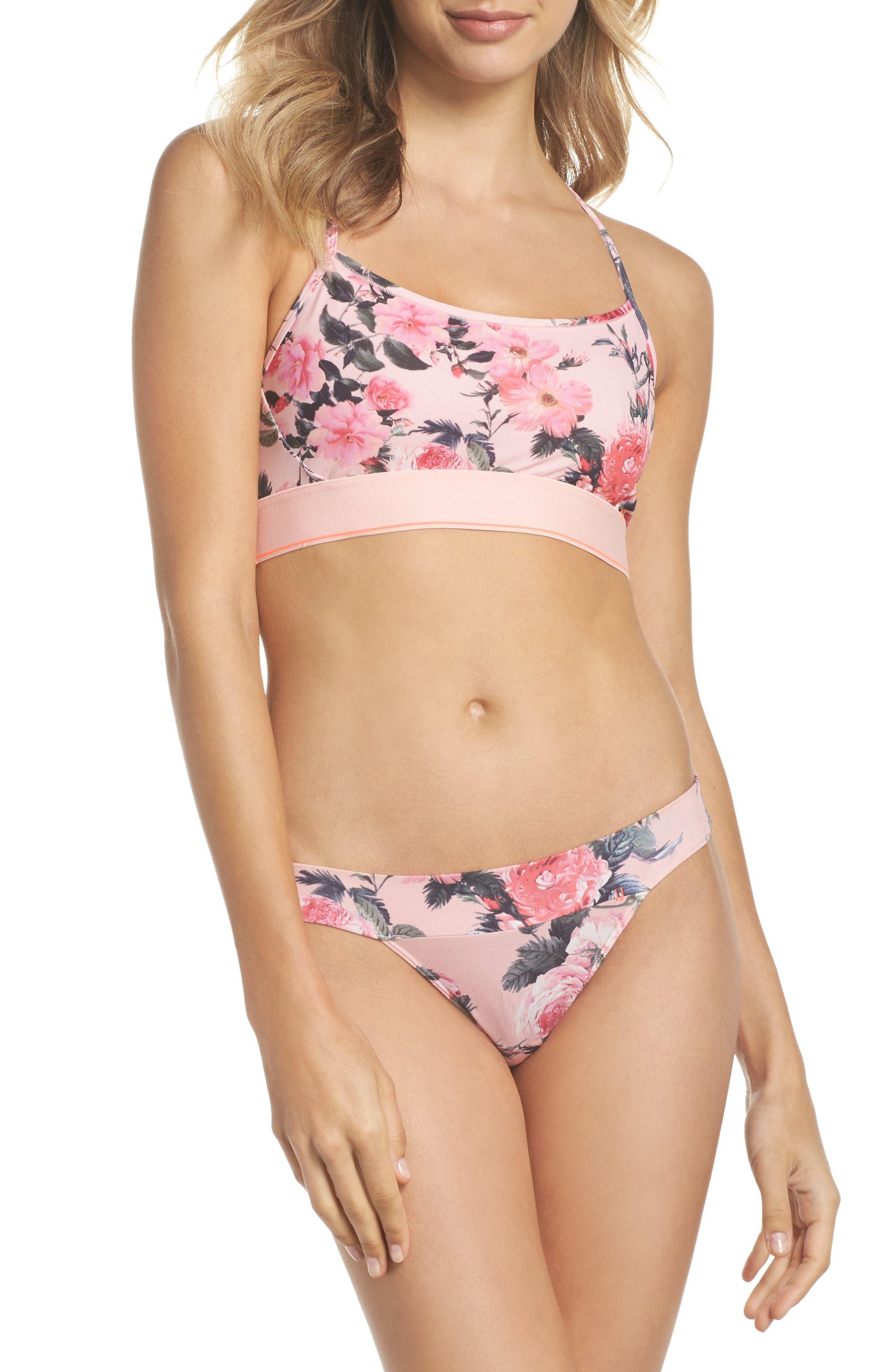Floral Tomboy Bralette,                             Alternate thumbnail 6, color,                             Pink Multi