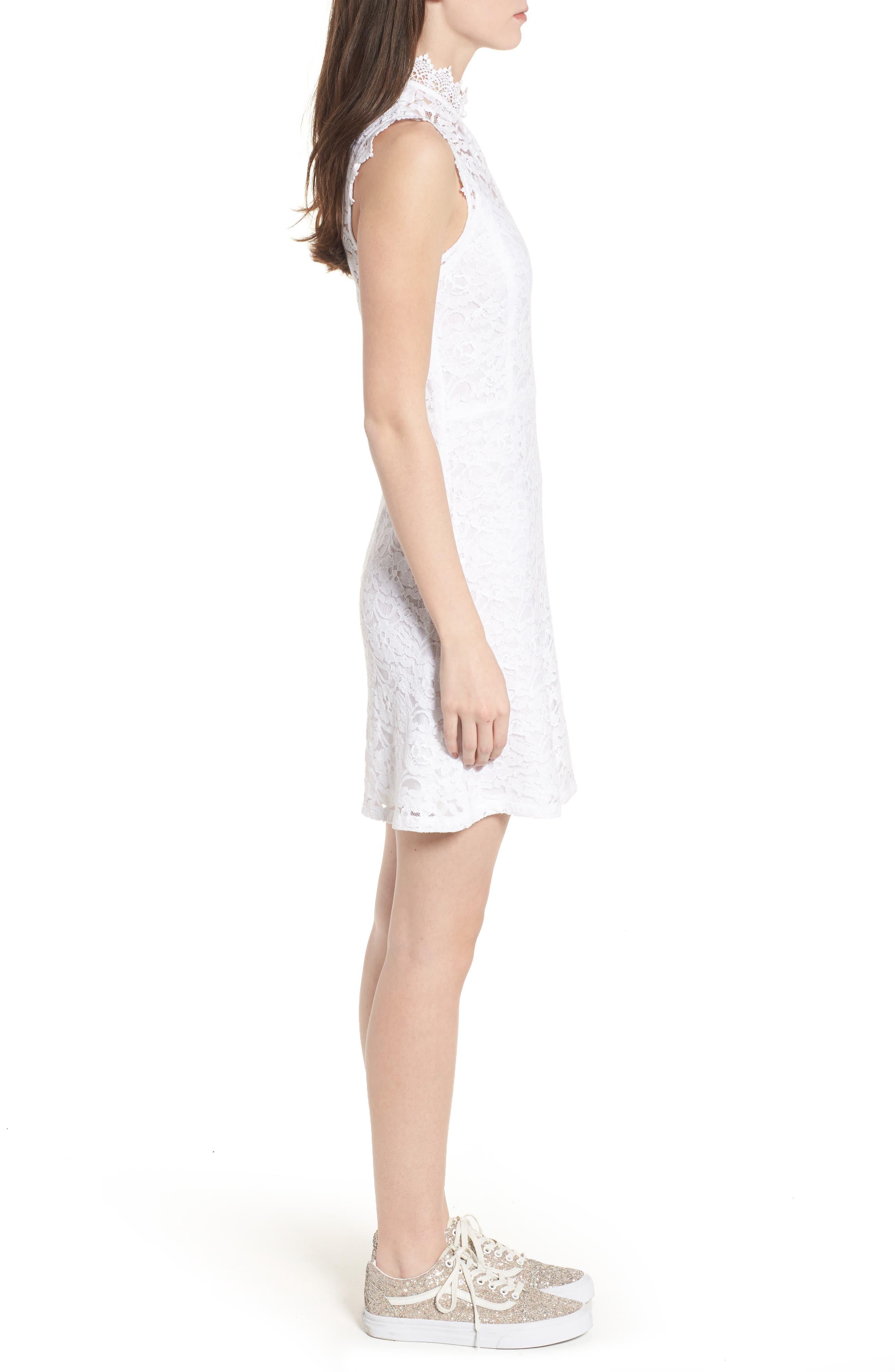 Rapture Lace Keyhole Dress,                             Alternate thumbnail 3, color,                             White