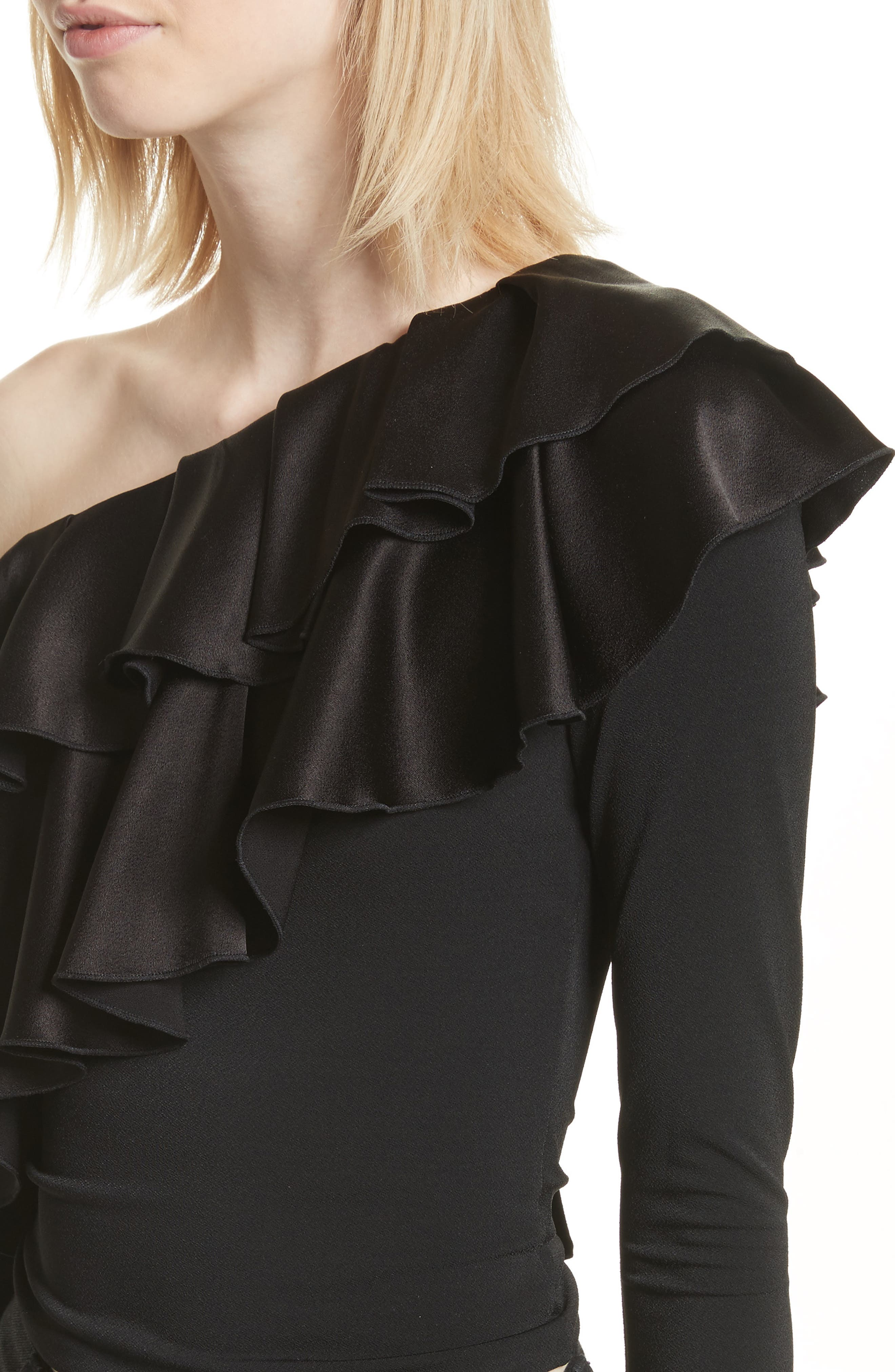 Izzy One-Shoulder Ruffle Crop Top,                             Alternate thumbnail 4, color,                             Black