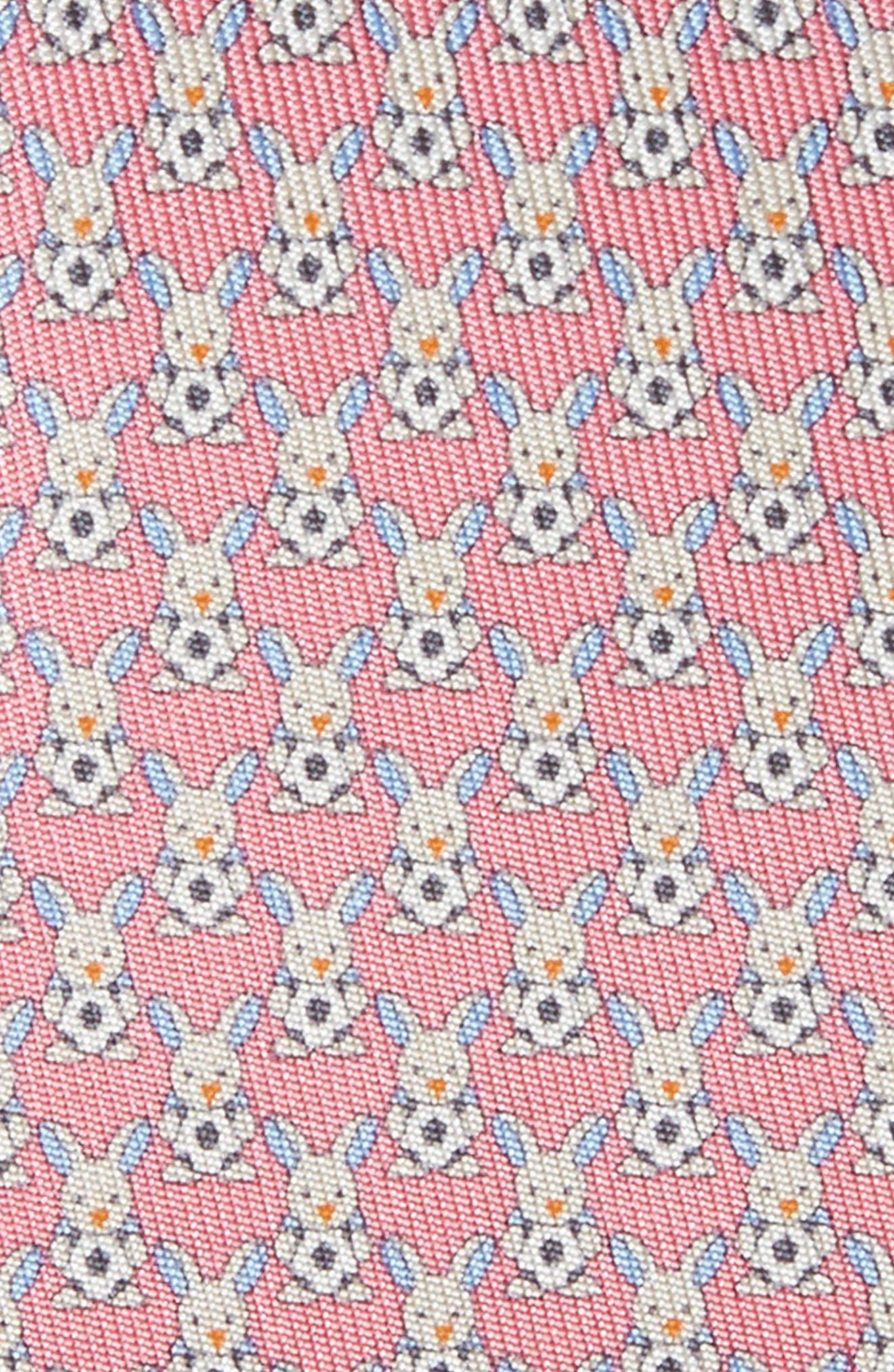Errico Bunny Print Silk Tie,                             Alternate thumbnail 2, color,                             Pink