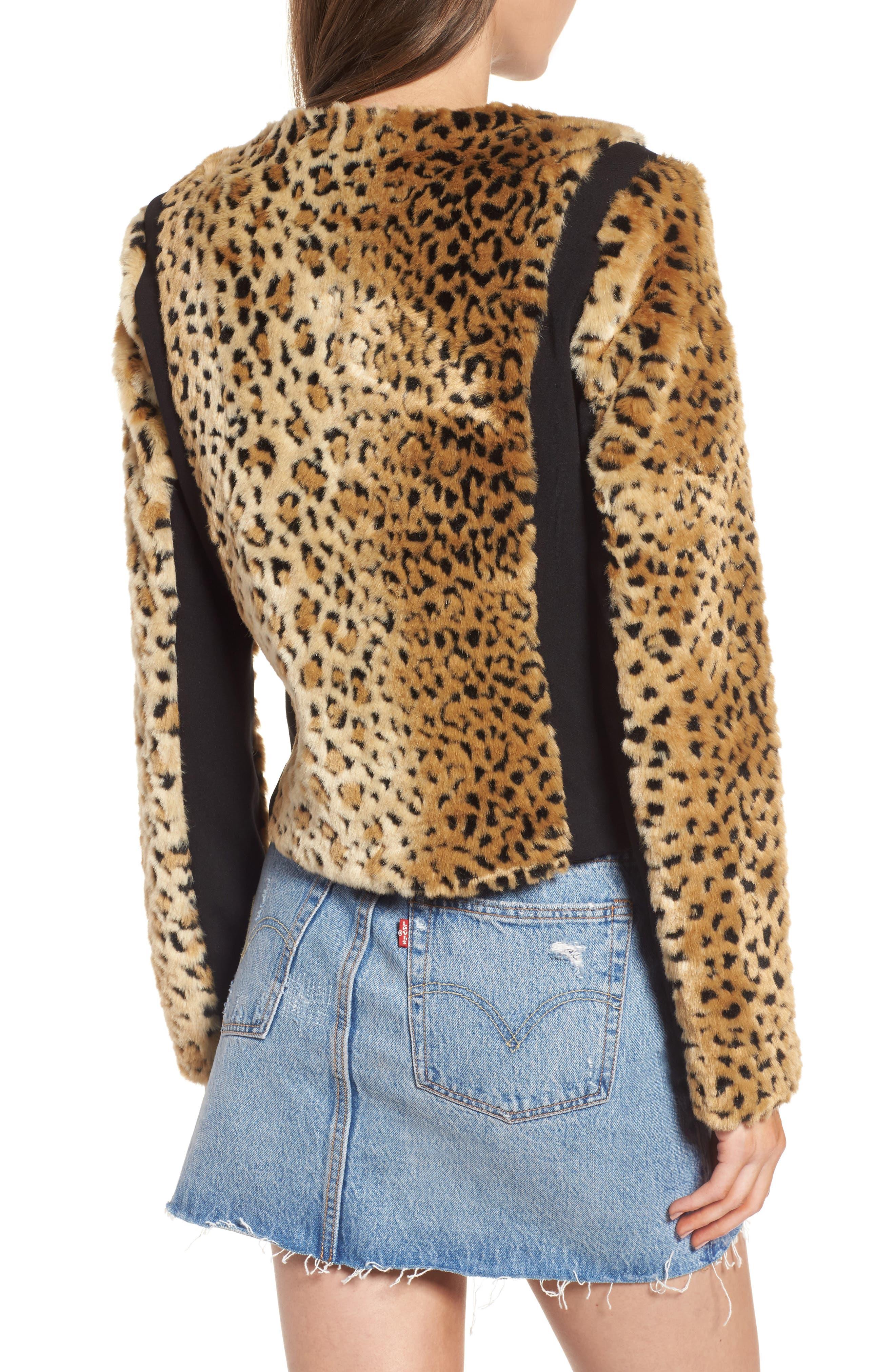 Faux Fur Leopard Jacket,                             Alternate thumbnail 3, color,                             Beige/ Black
