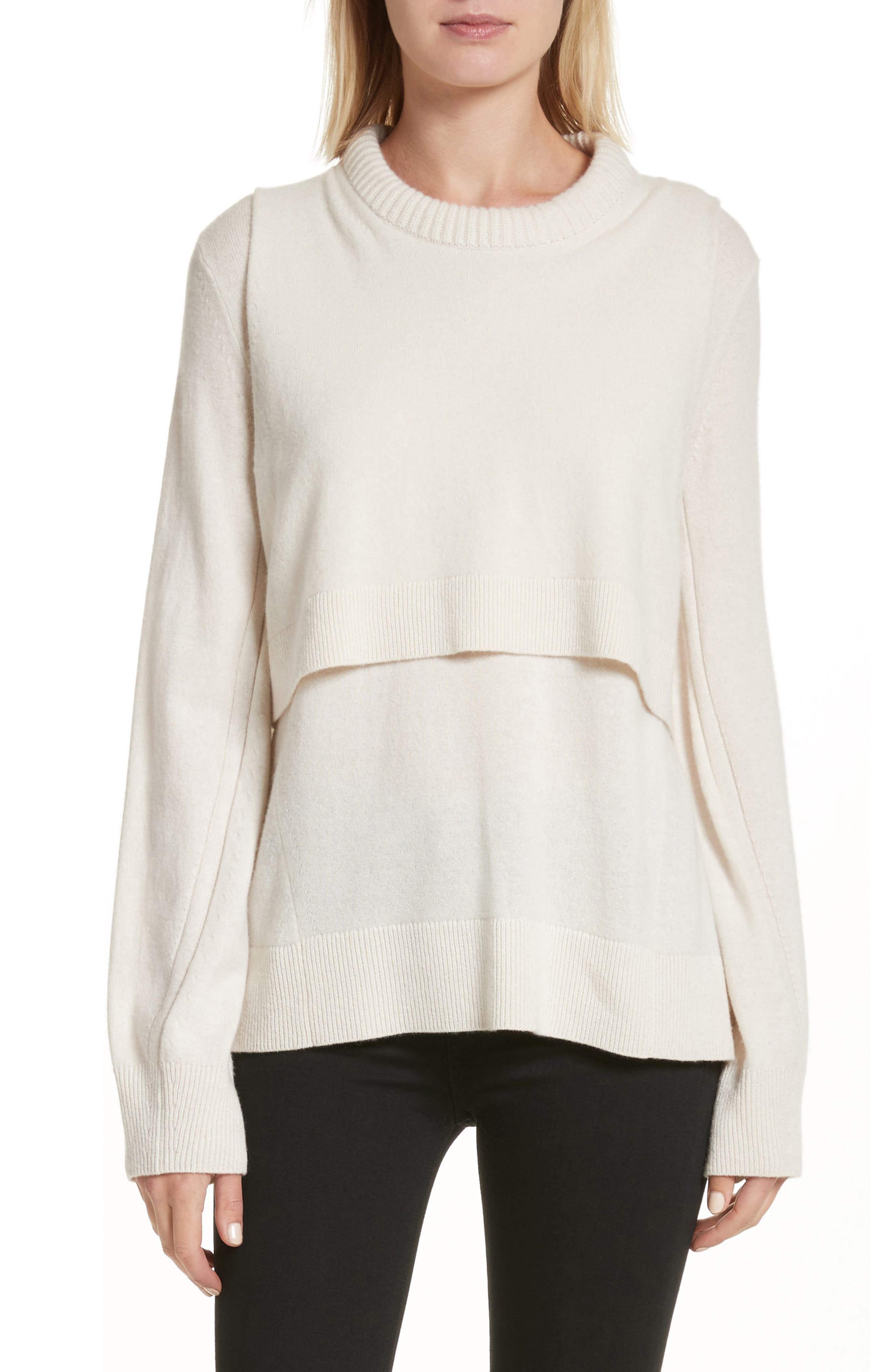 Preston Cashmere Crewneck Sweater,                             Main thumbnail 1, color,                             Ivory