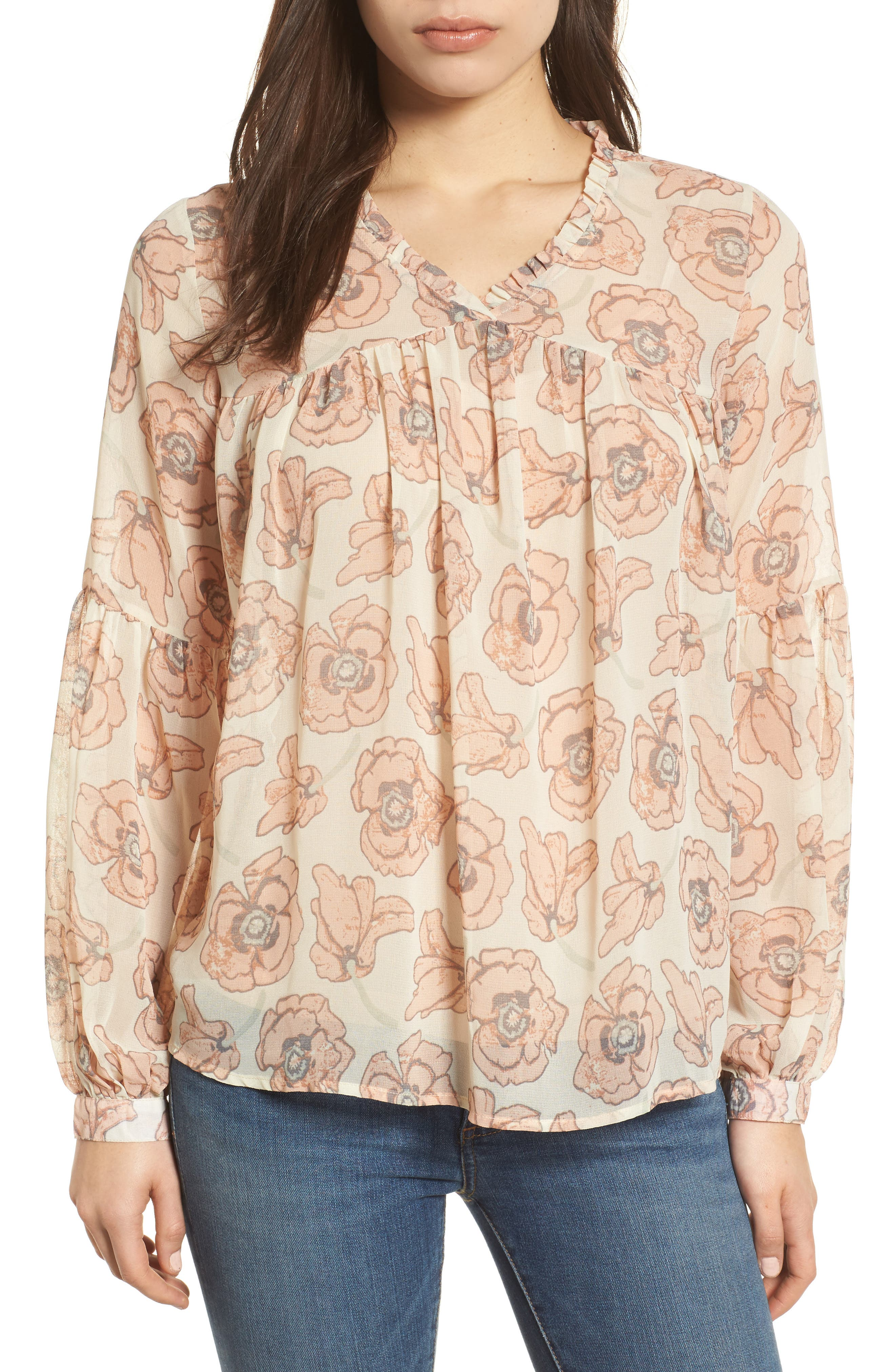 Exploded Floral Top,                             Main thumbnail 1, color,                             Pink Multi