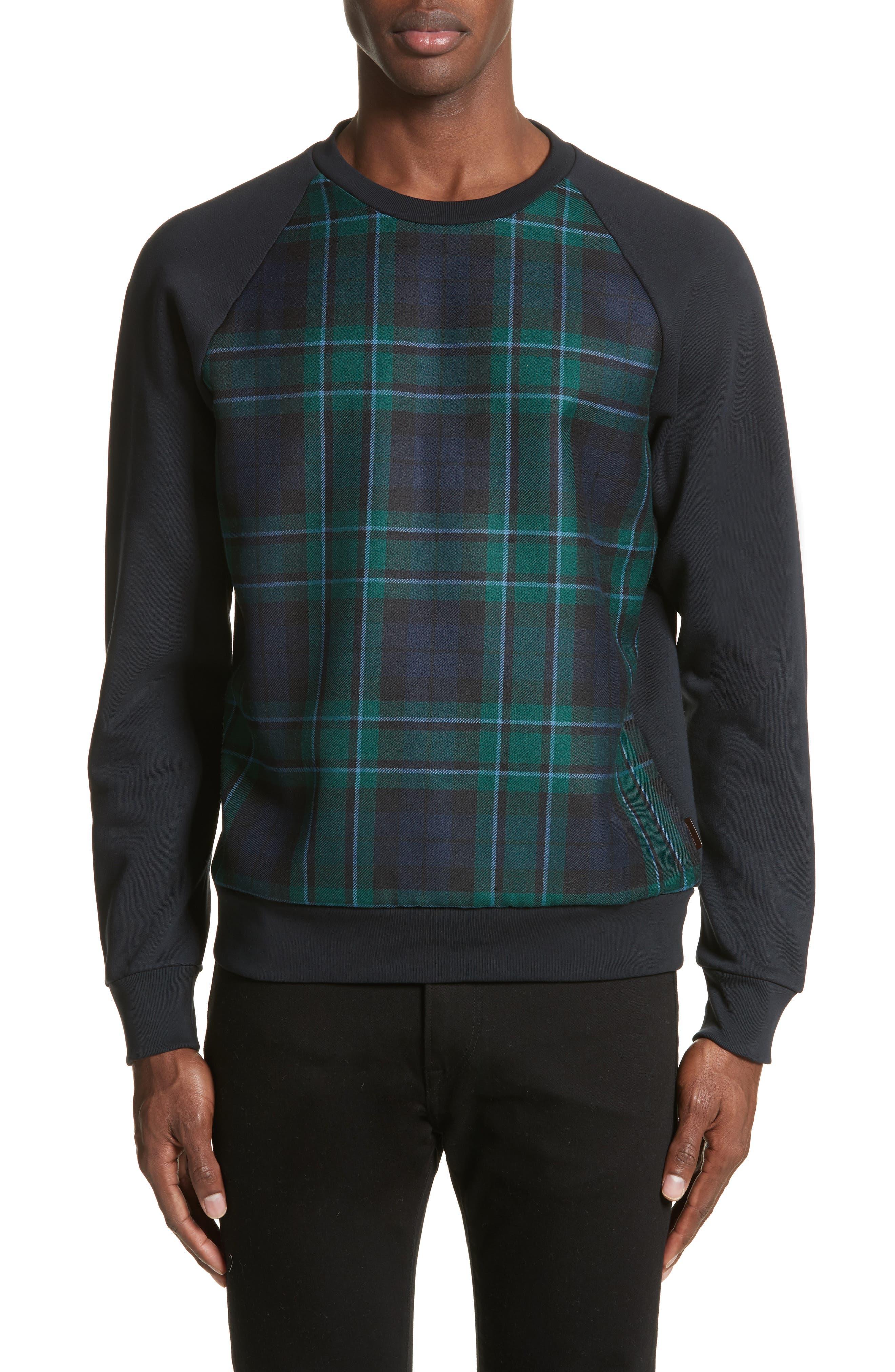 Main Image - Burberry Beachen Tartan Panel Jersey Sweatshirt