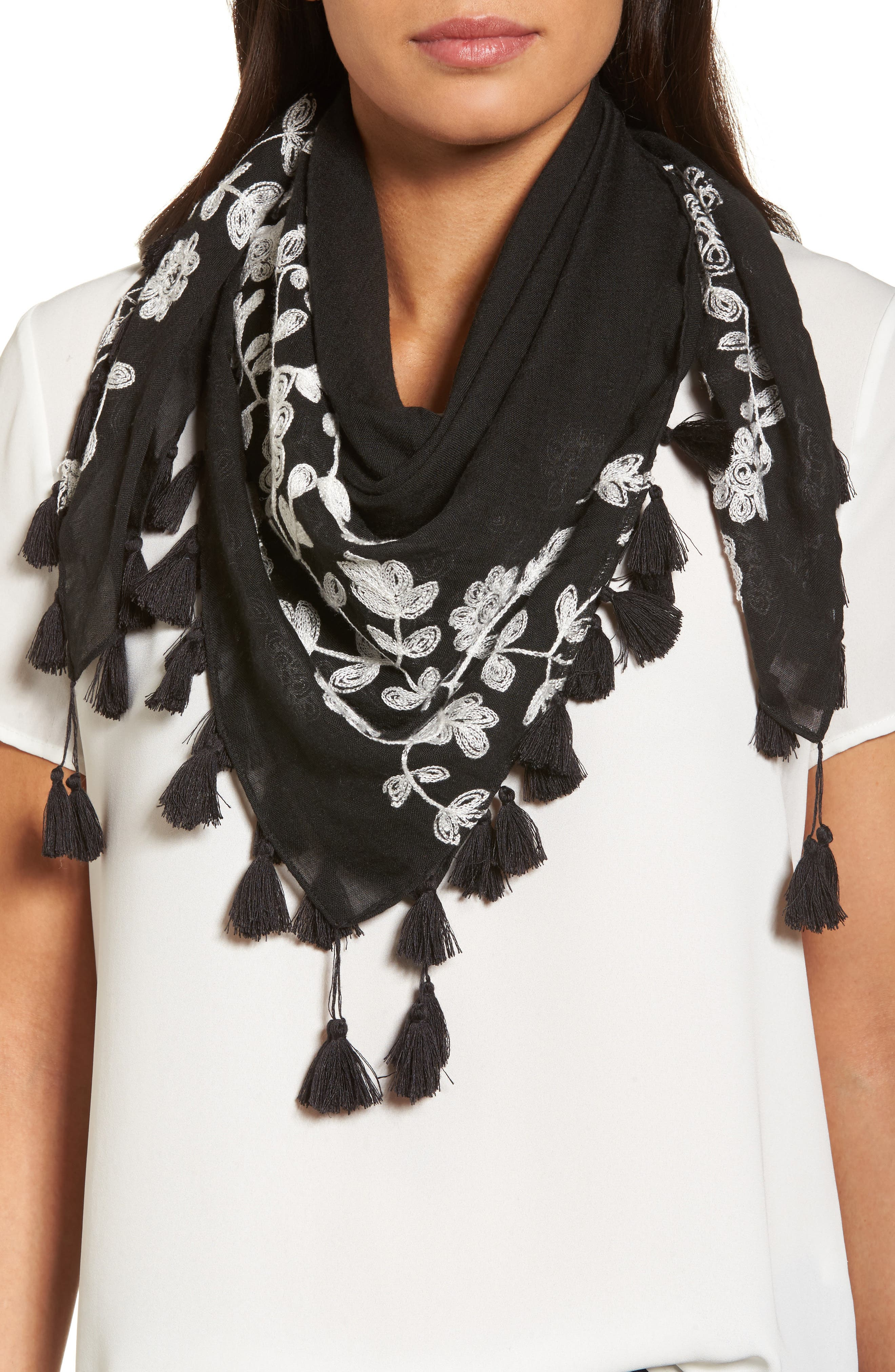Embroidered Square Scarf,                         Main,                         color, Black