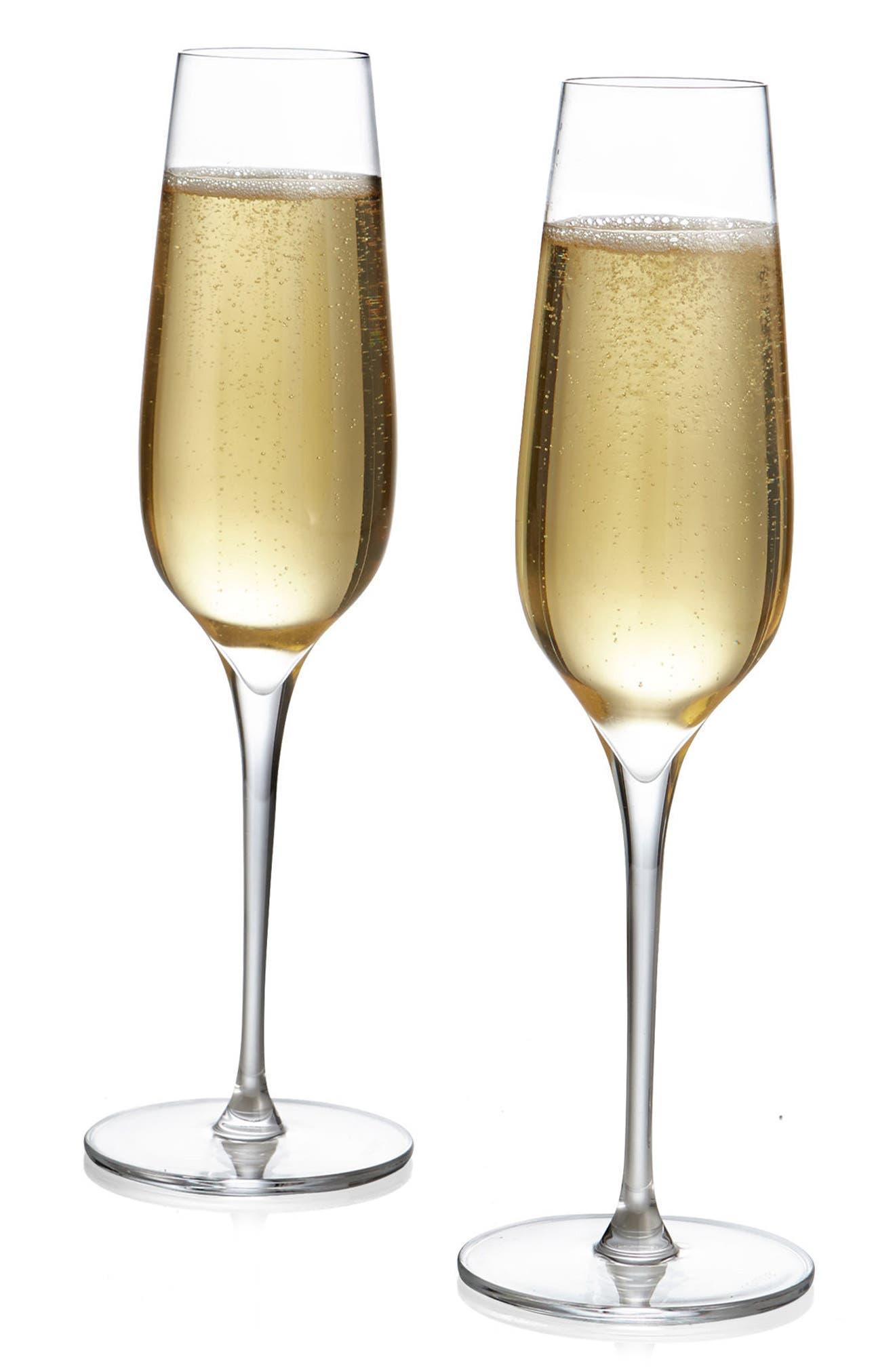 Vie Set of 2 Champagne Flutes,                             Alternate thumbnail 3, color,                             Clear