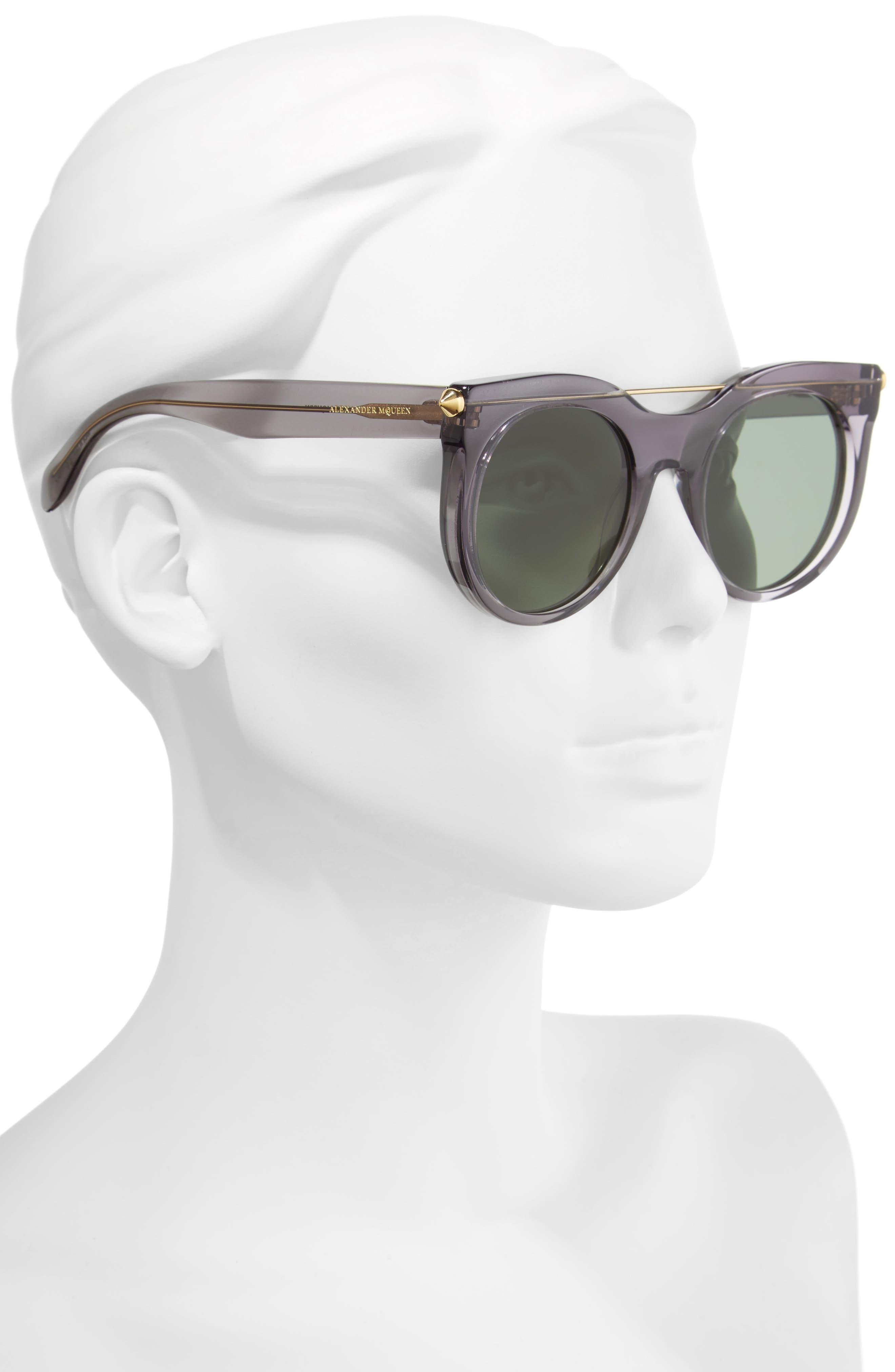 52mm Cat Eye Sunglasses,                             Alternate thumbnail 2, color,                             Grey