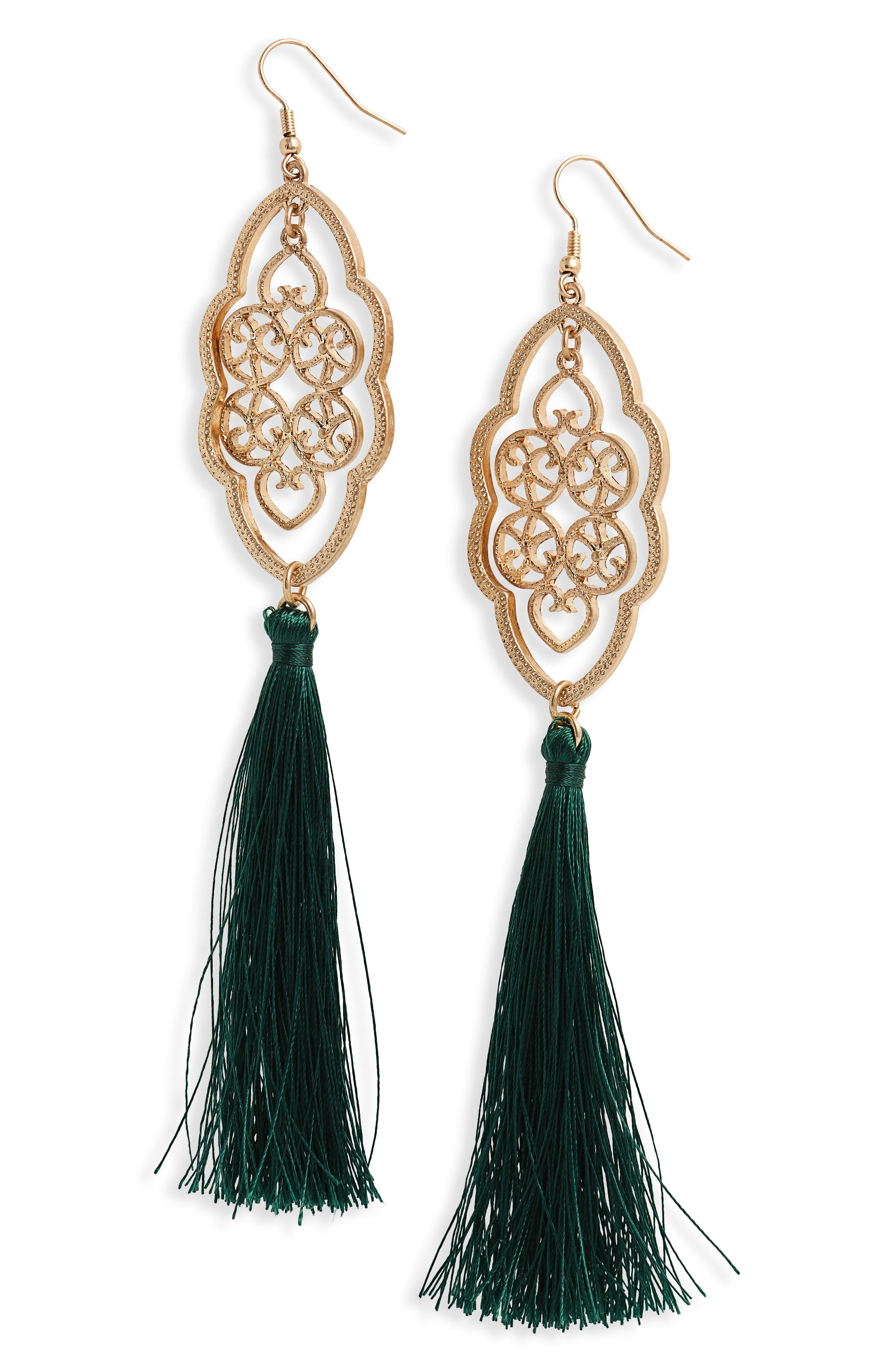 Medallion Tassel Drop Earrings,                         Main,                         color, Emerald/ Gold