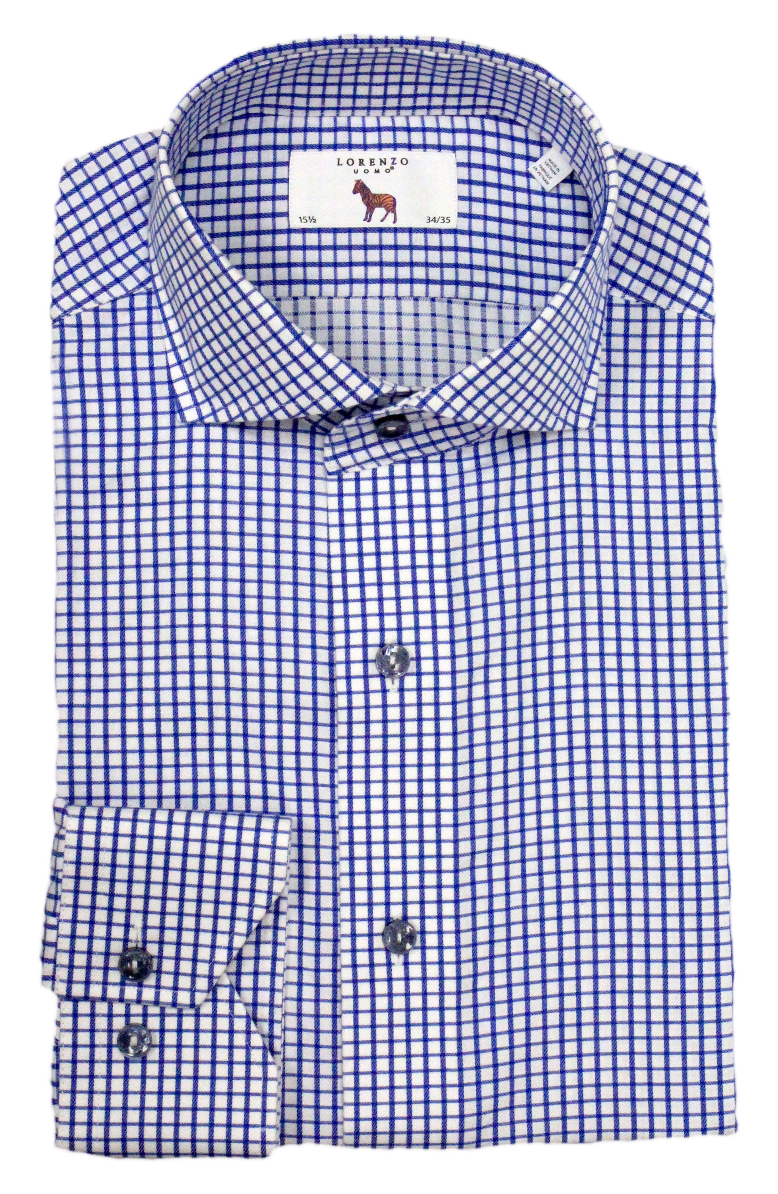 Trim Fit Check Dress Shirt,                             Main thumbnail 1, color,                             Navy/ White