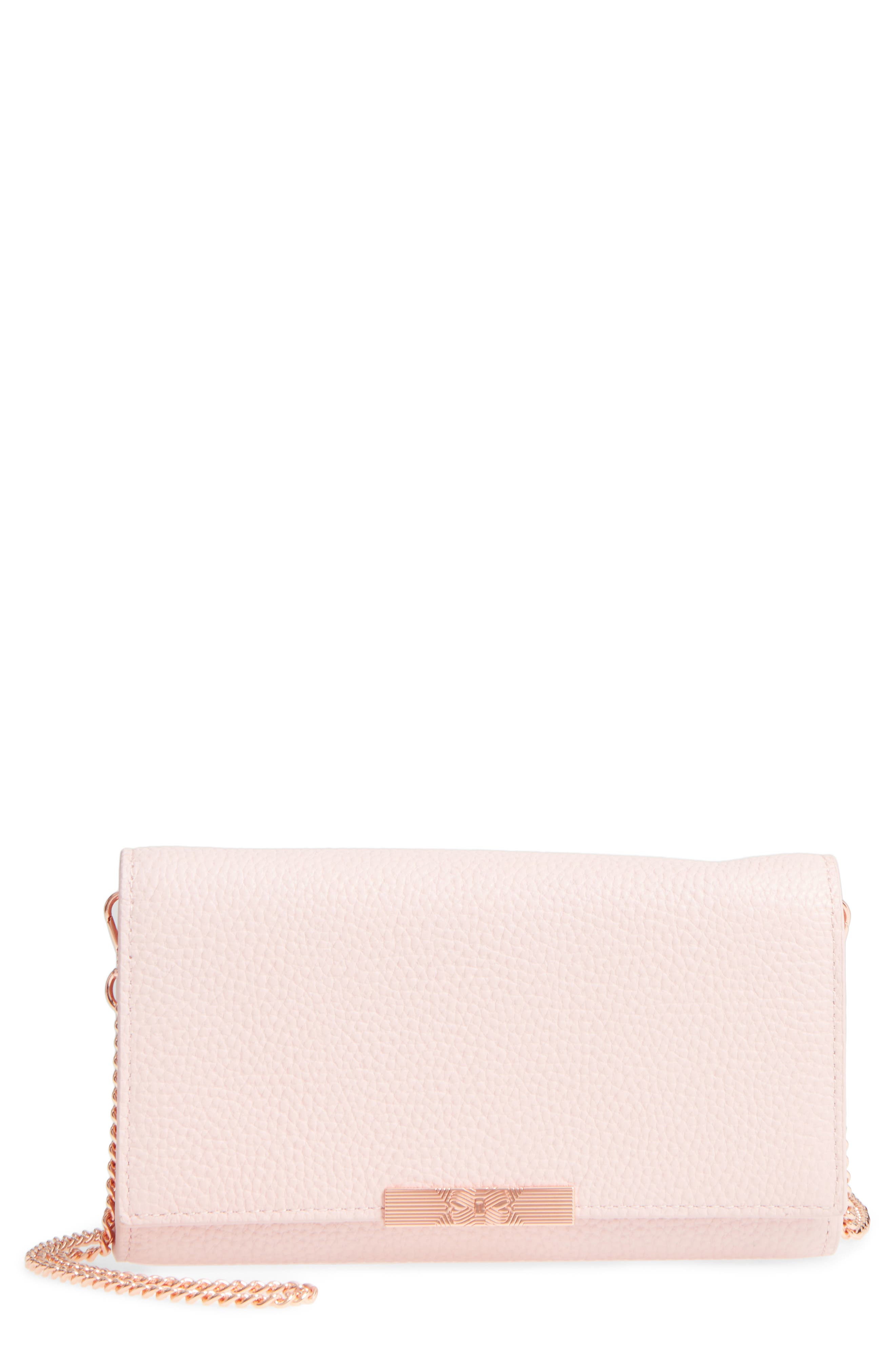 Leather Wallet on a Chain,                             Main thumbnail 1, color,                             Light Pink