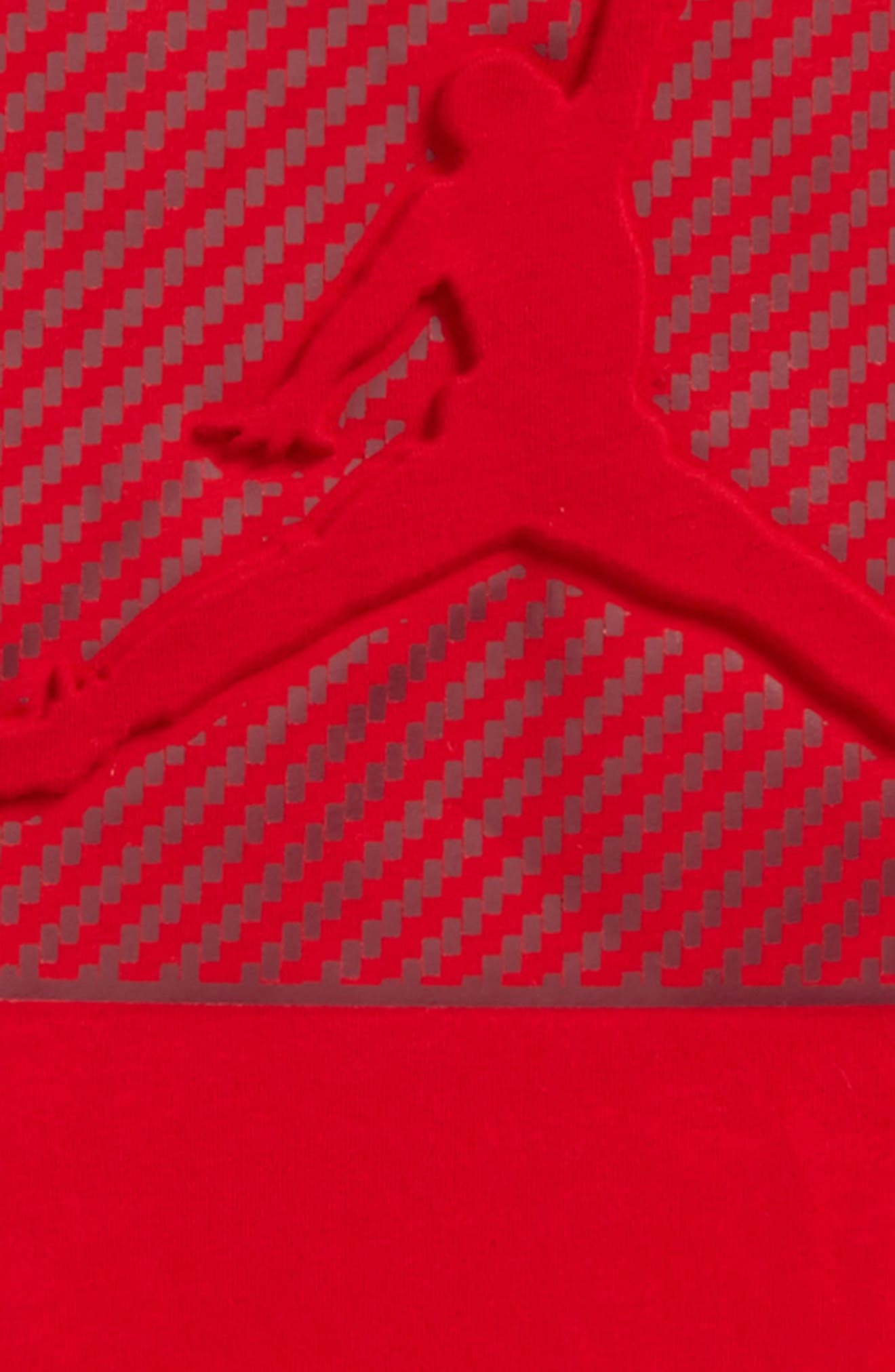 Jordan AJ Emboss Carbon T-Shirt,                             Alternate thumbnail 2, color,                             Gym Red