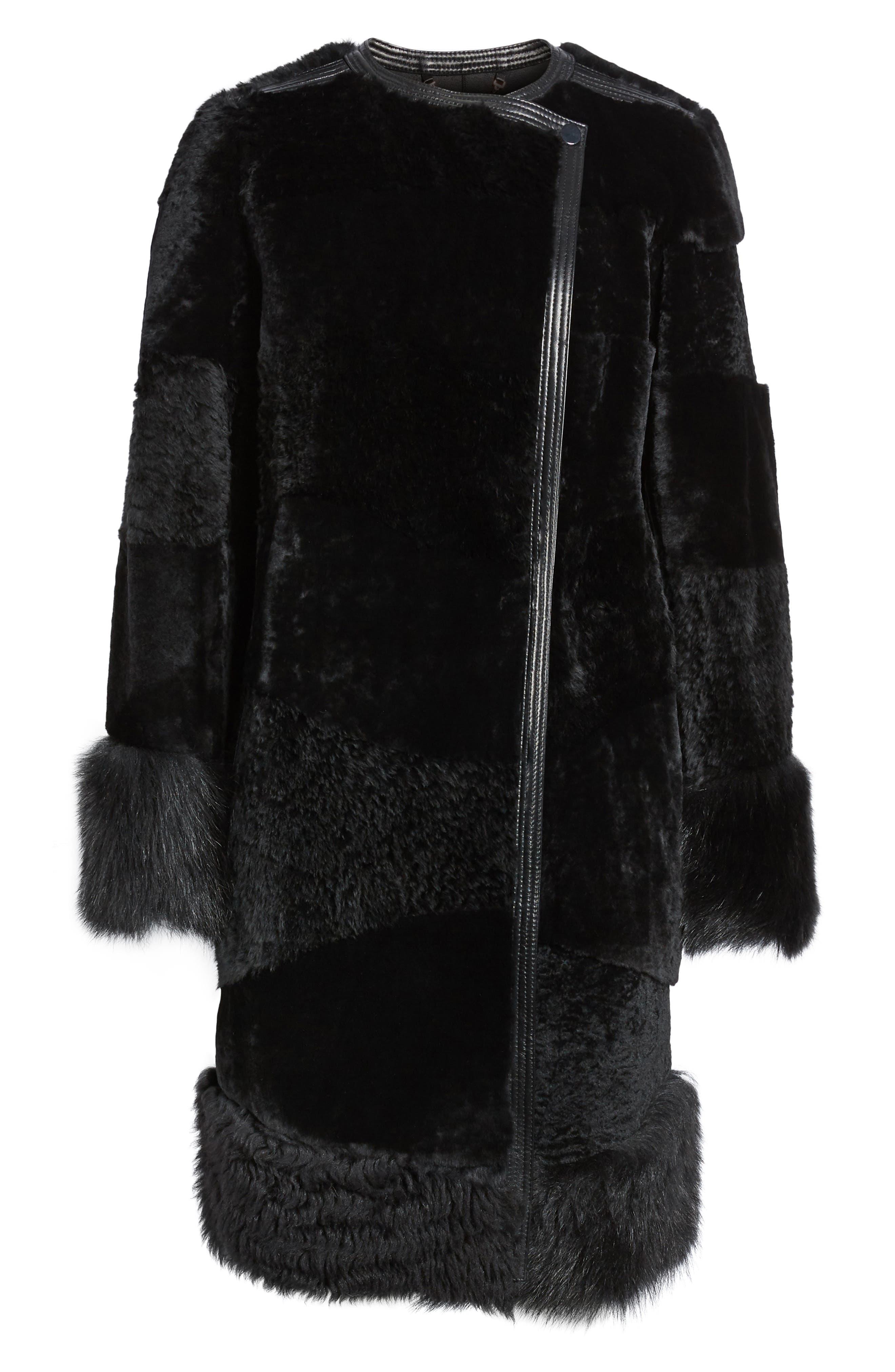 Alternate Image 6  - BOSS Sopora Long Genuine Shearling & Leather Trim Jacket