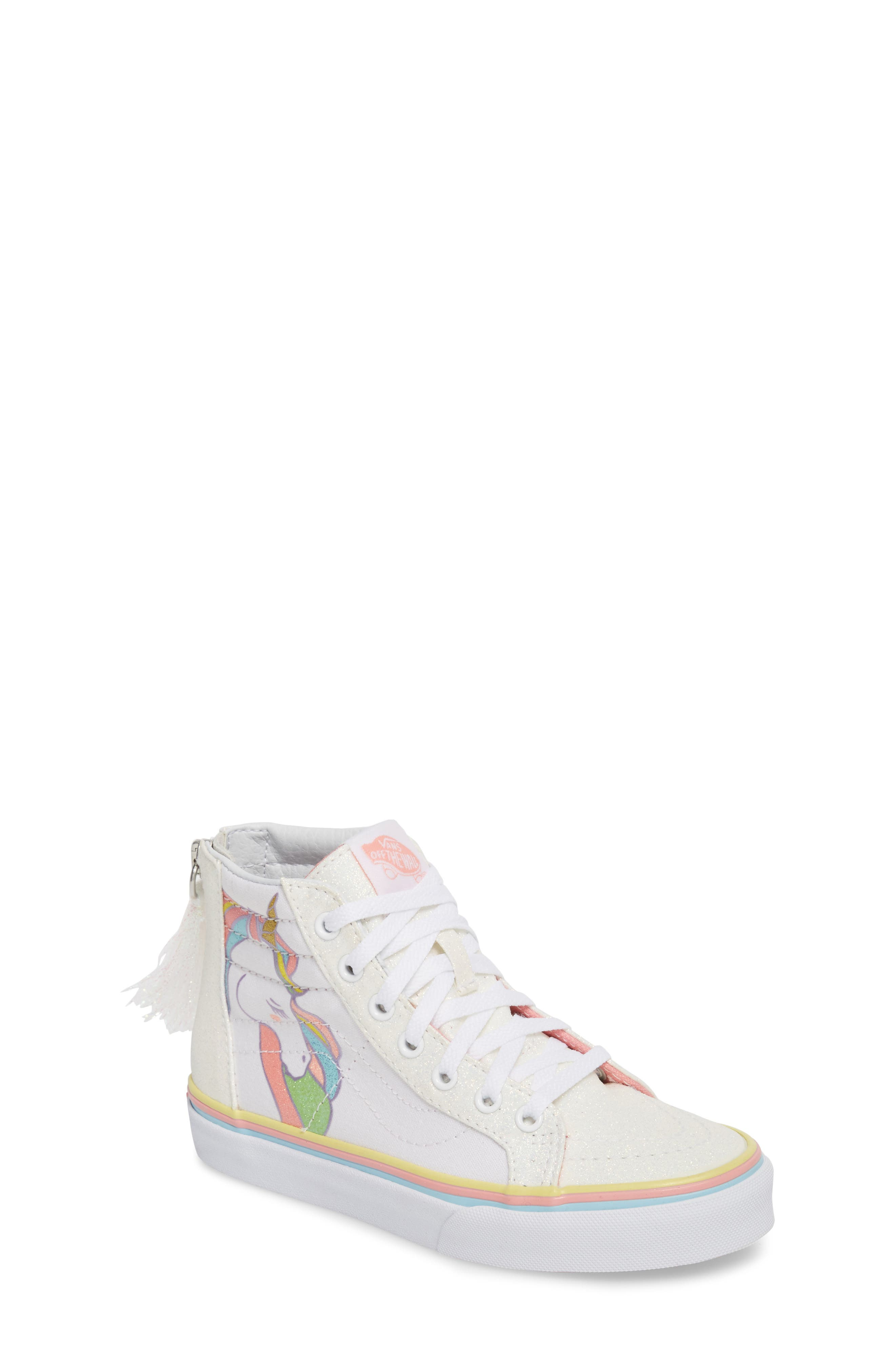 Sk8-Hi Zip Unicorn Glitter High Top Sneaker,                             Main thumbnail 1, color,                             White Glitter Unicorn