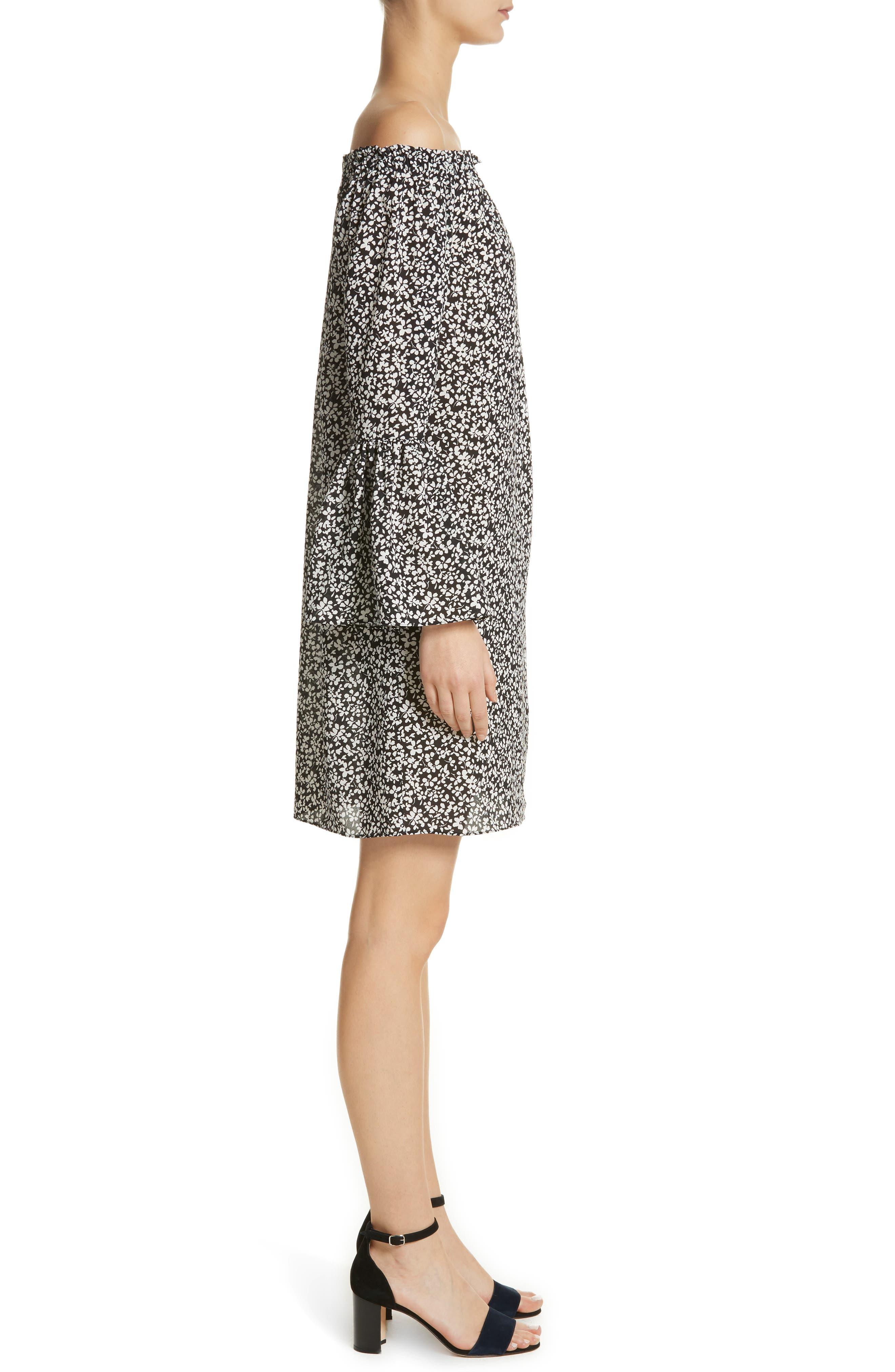 Alternate Image 3  - Michael Kors Print Silk Off the Shoulder Dress
