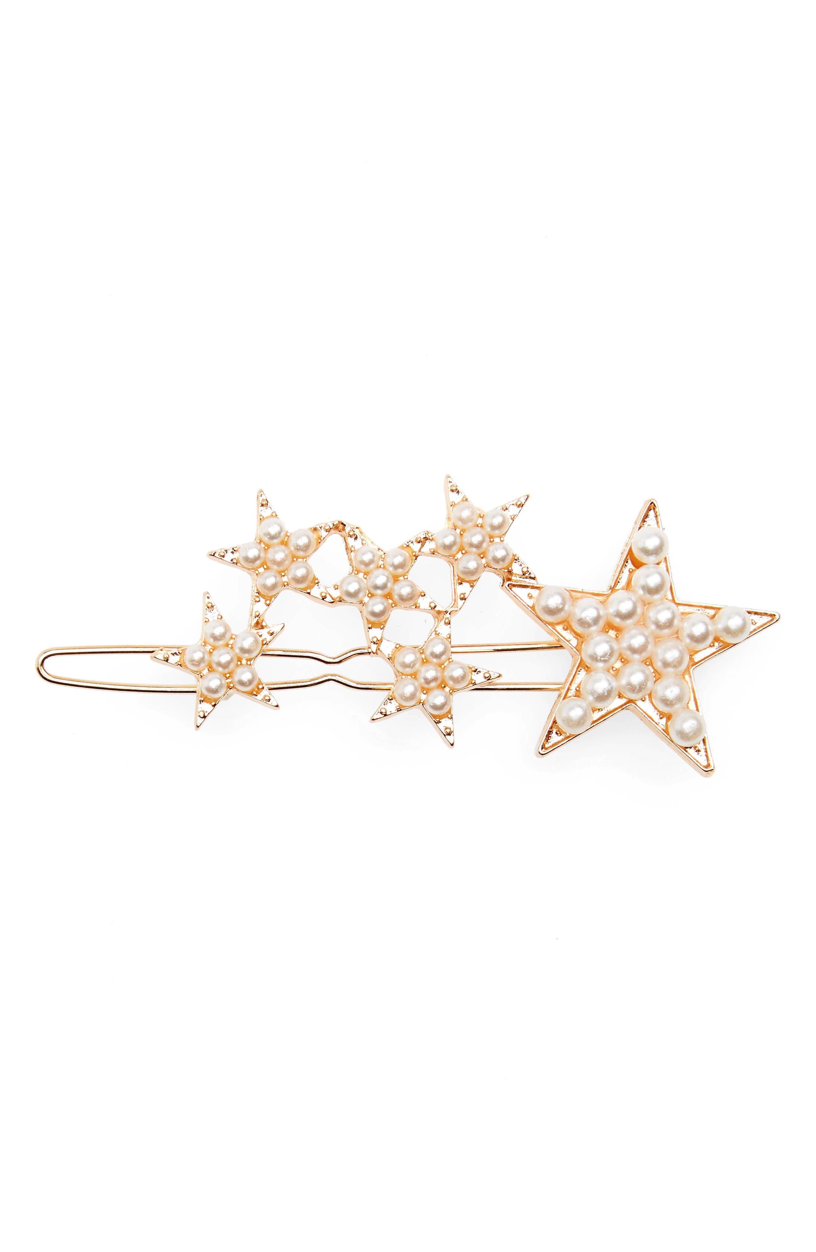 Accessory Collective Imitation Pearl Star Barrette,                         Main,                         color, Gold