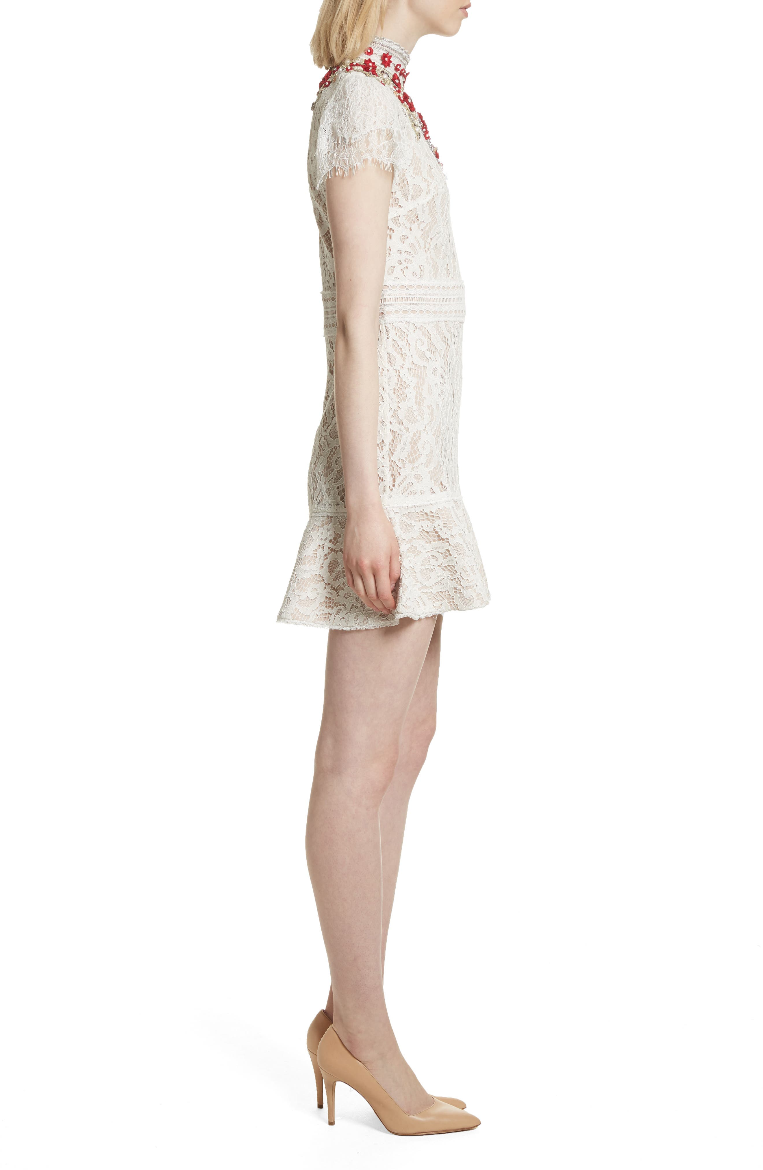 Francine Lace Fit & Flare Minidress,                             Alternate thumbnail 3, color,                             Cream/ Perfect Poppy