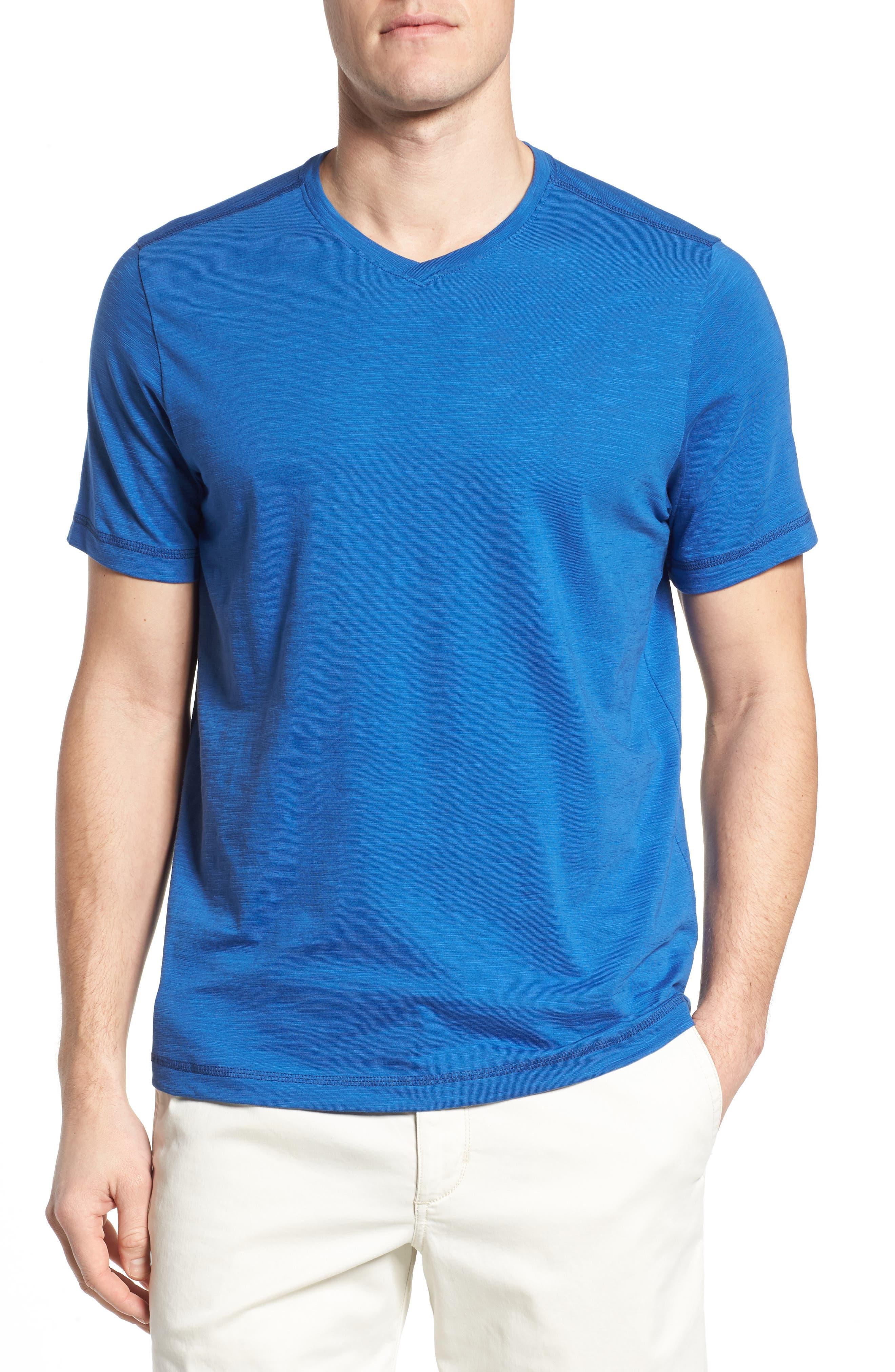 Portside Palms V-Neck T-Shirt,                             Main thumbnail 1, color,                             Galaxy Blue