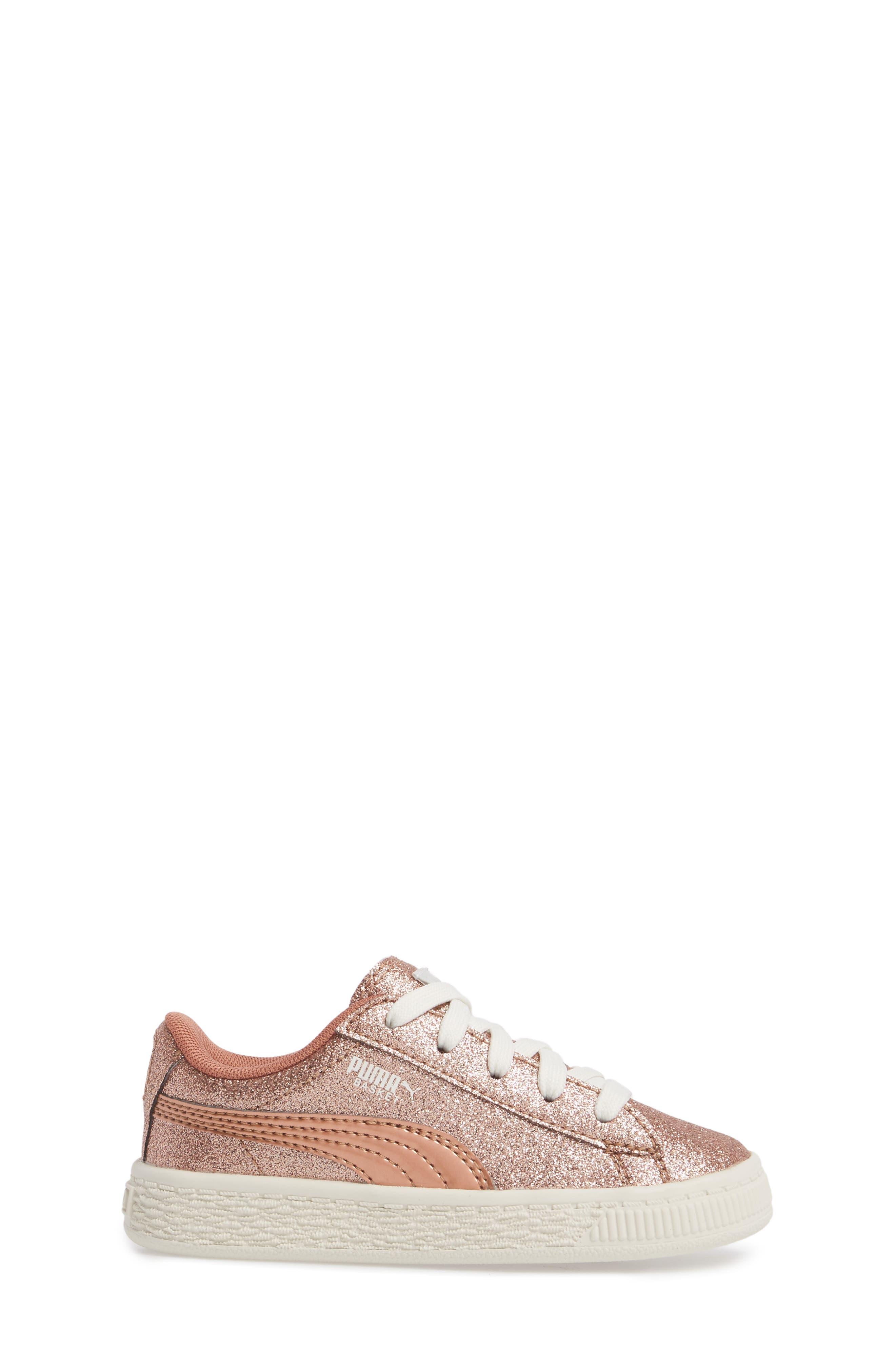 Basket Holiday Glitz Jr. Sneaker,                             Alternate thumbnail 3, color,                             Copper Rose