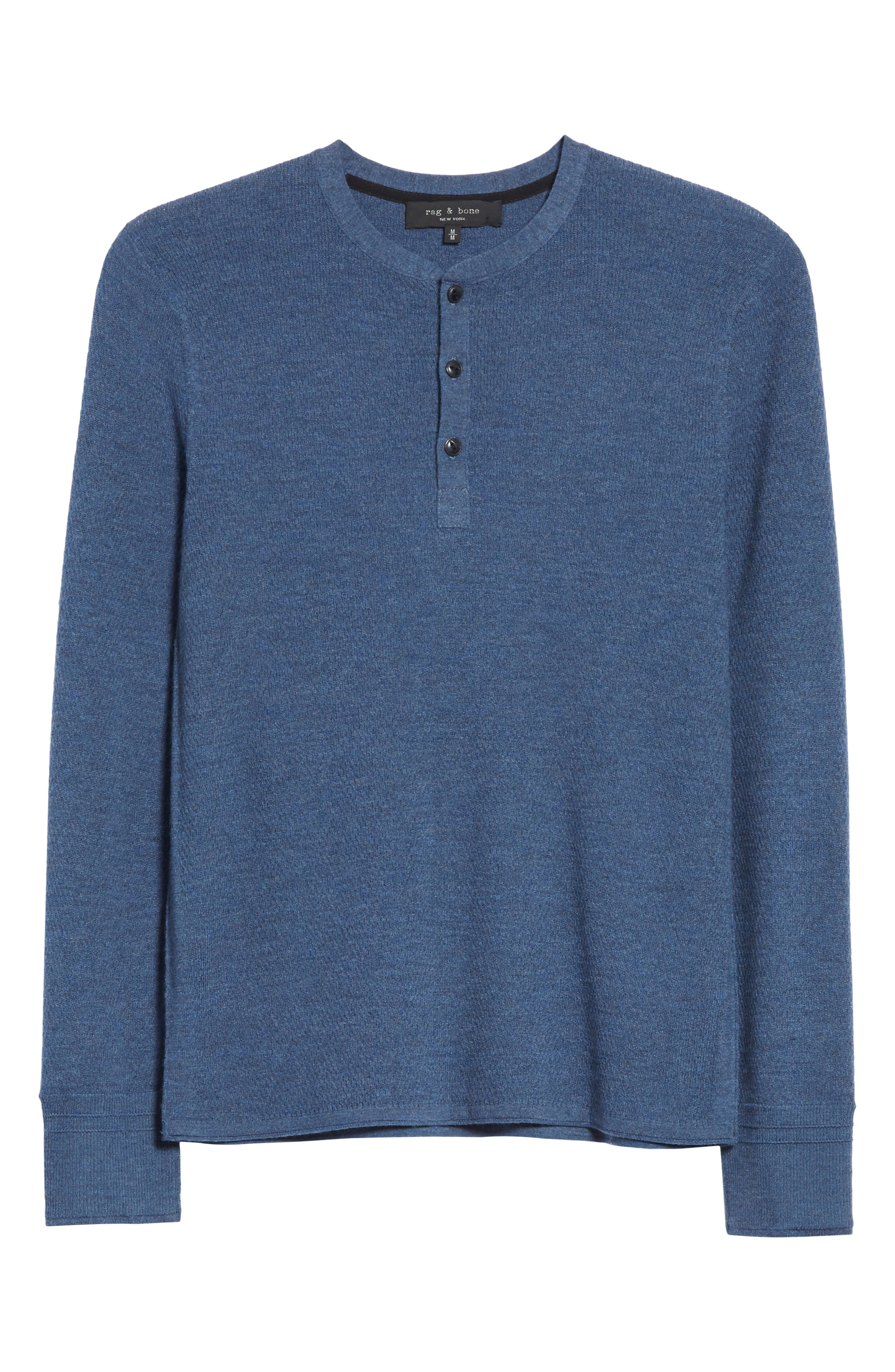 Gregory Merino Wool Blend Thermal Henley,                             Alternate thumbnail 6, color,                             Heather Blue