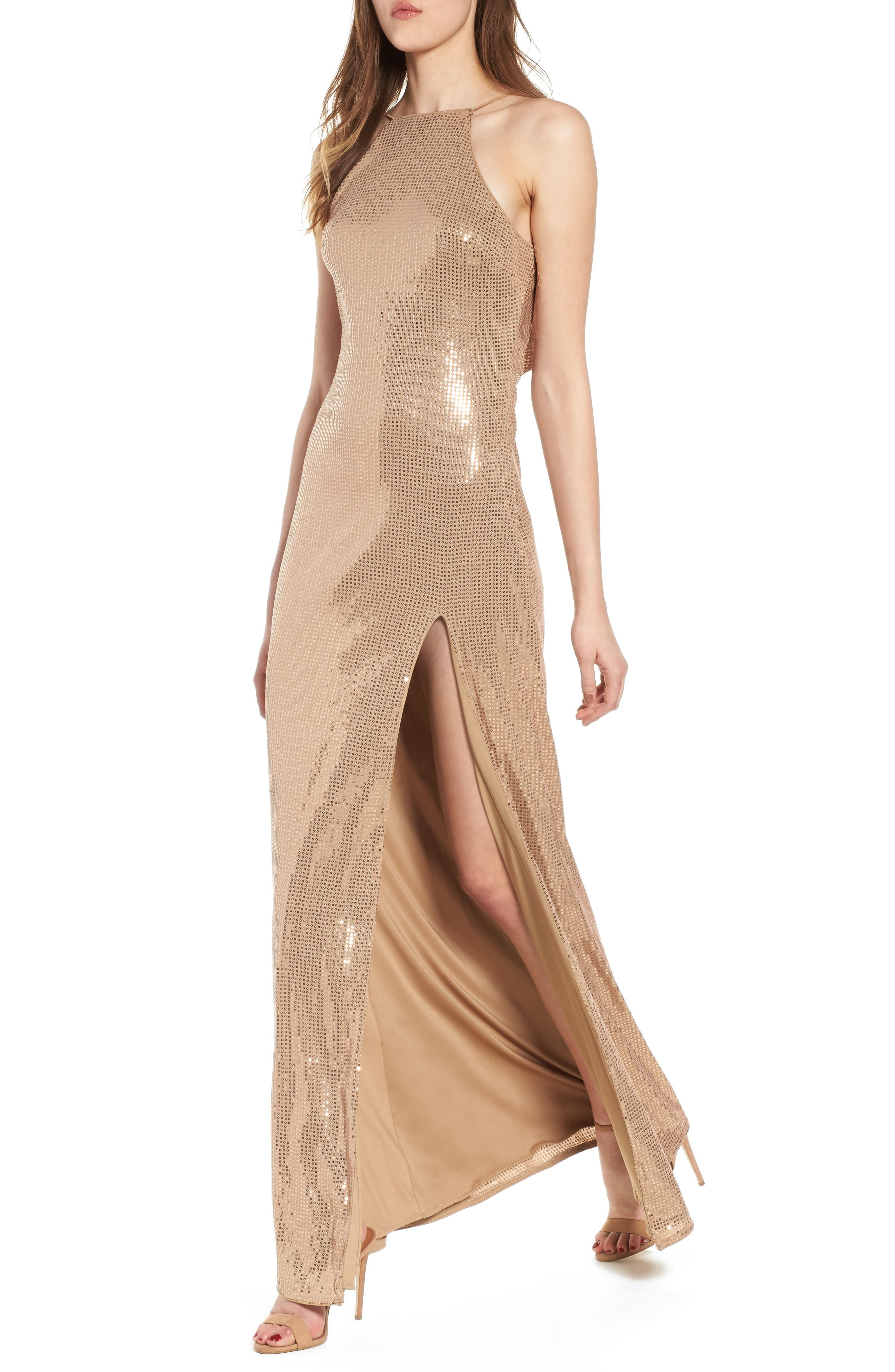Jacket Halter Gown,                             Main thumbnail 1, color,                             Taupe