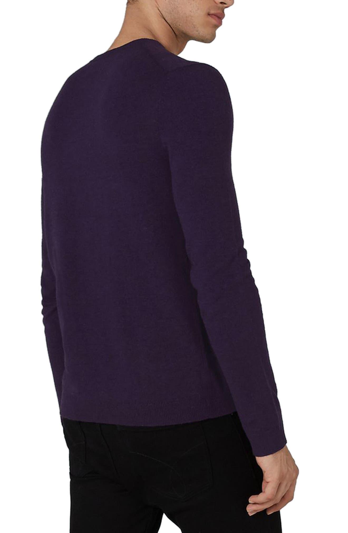 Slim Fit Crewneck Sweater,                             Alternate thumbnail 2, color,                             Dark Purple
