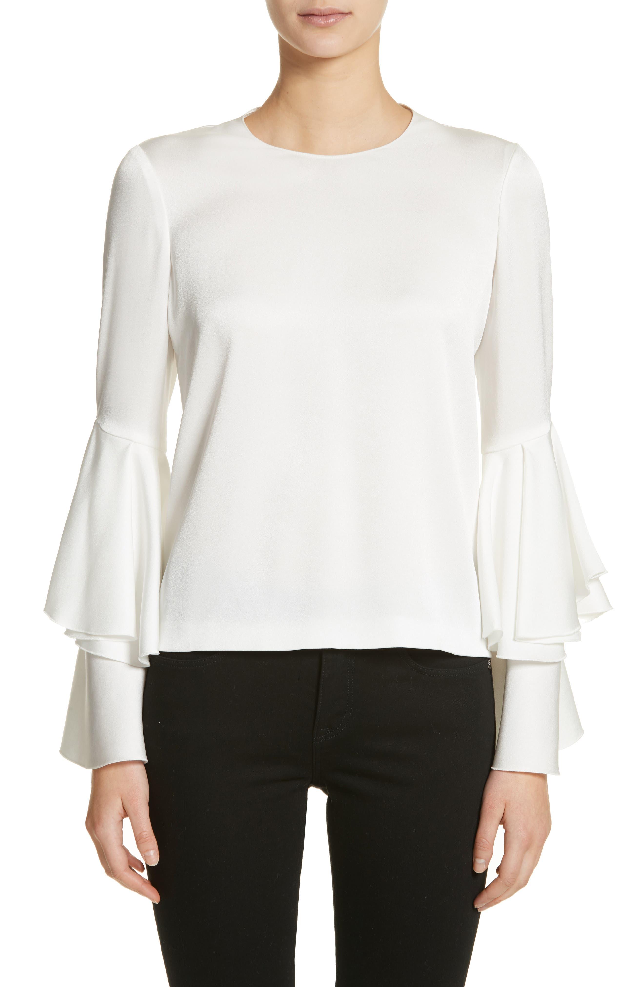 Ruffle Sleeve Blouse,                         Main,                         color, White