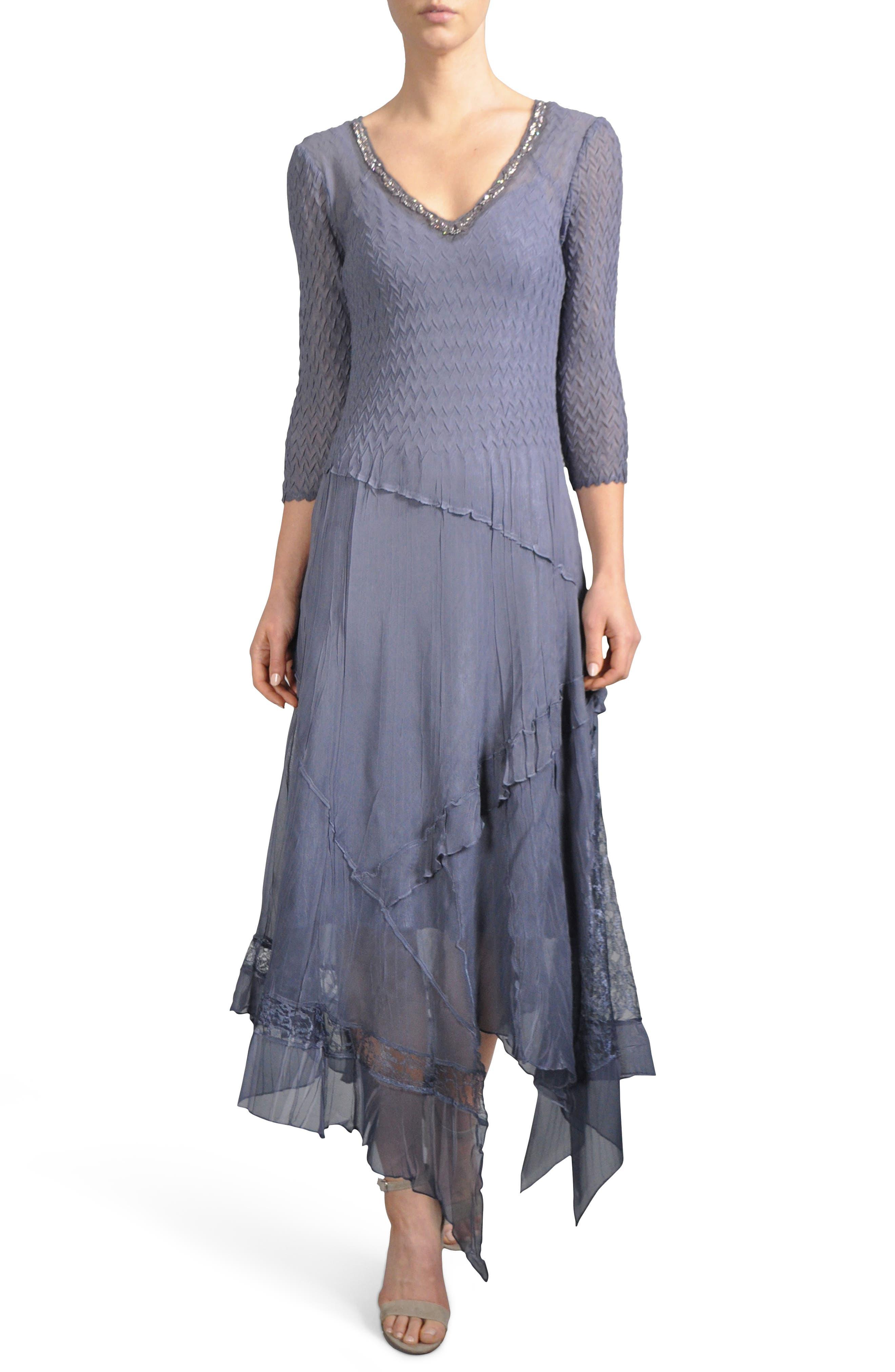 Beaded Neck Handkerchief Hem Dress,                         Main,                         color, Purple Sage Blue