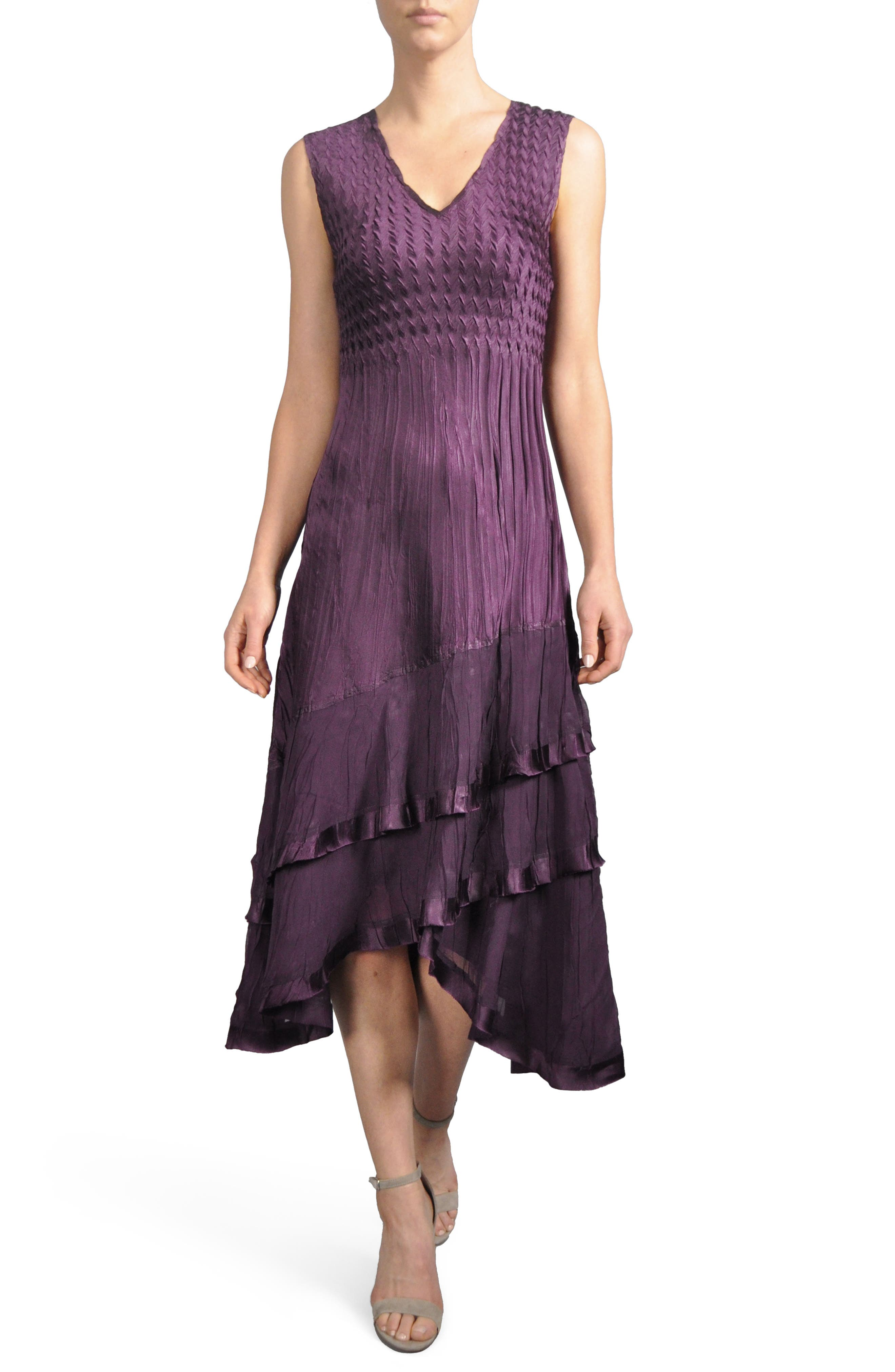 Komorov Textured Tiered Midi Dress with Jacket,                             Alternate thumbnail 2, color,                             Aubergine