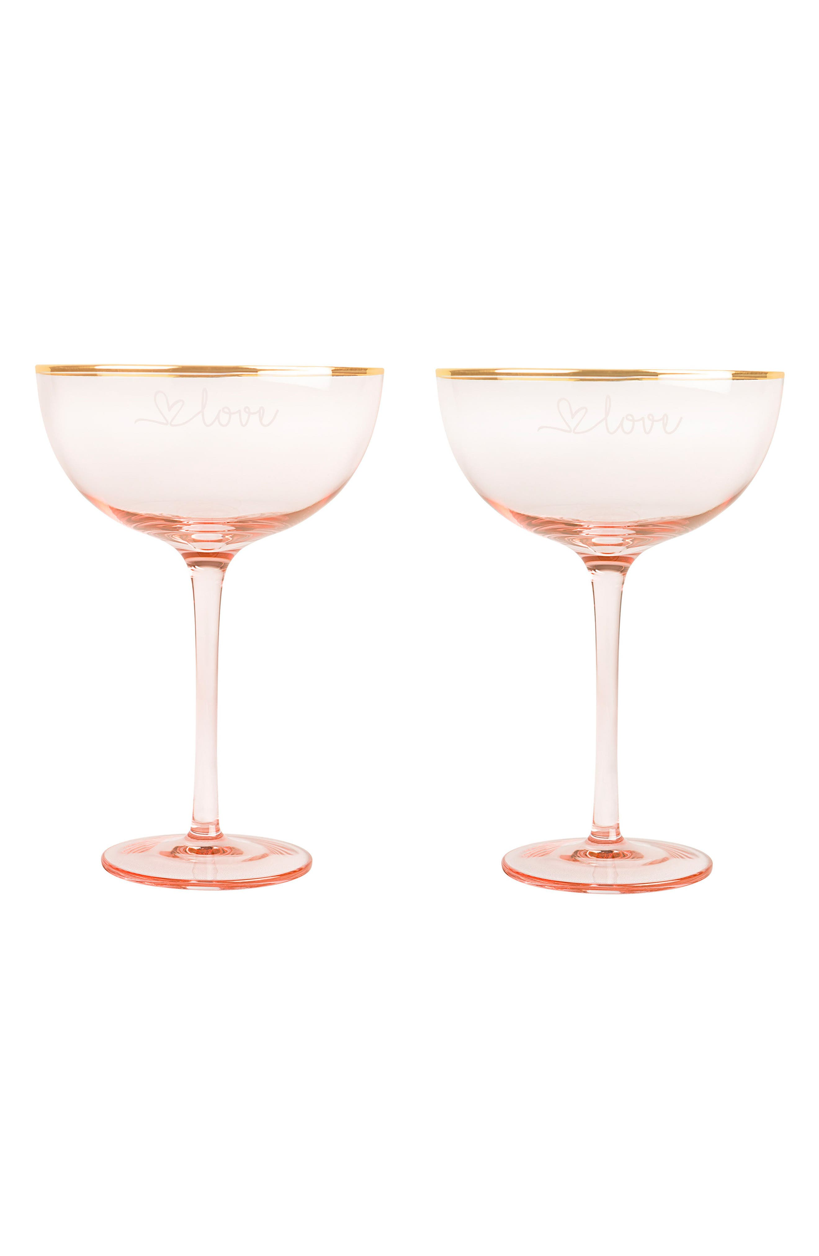 Love Set of 2 Champagne Coupes,                             Main thumbnail 1, color,                             Blush