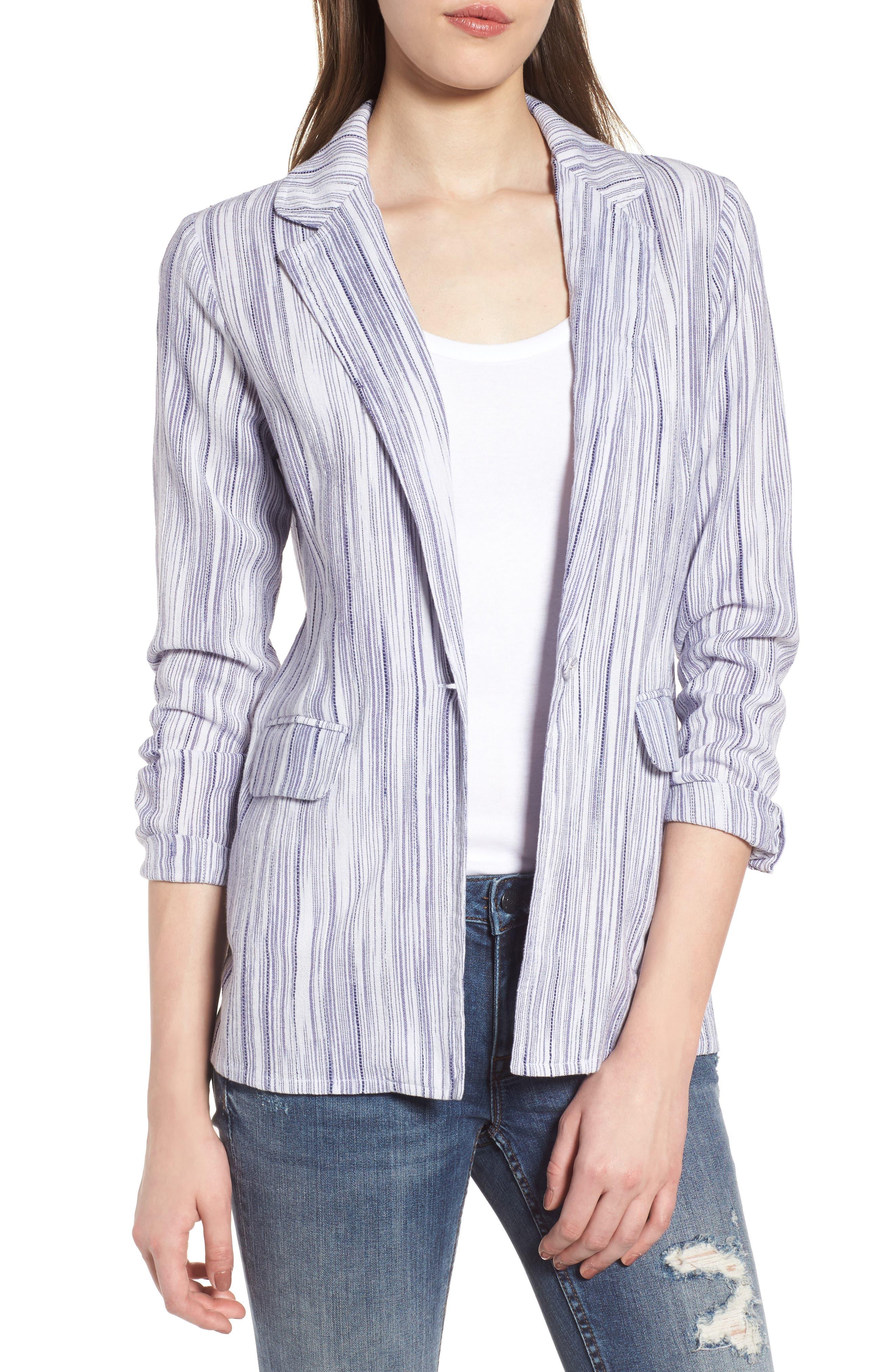 Stripe Blazer,                         Main,                         color, Riviera Blue