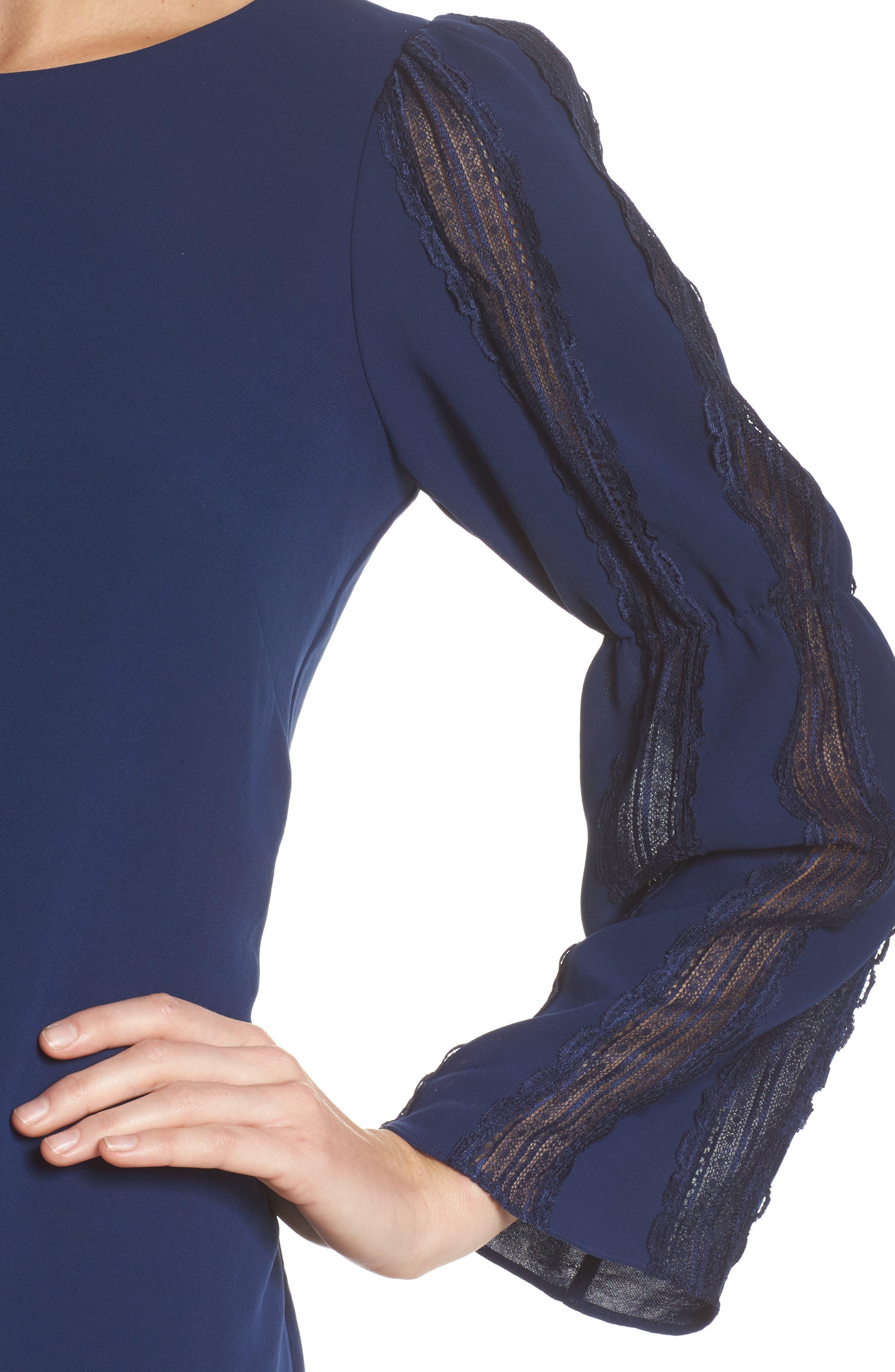 Bell Sleeve Trapeze Dress,                             Alternate thumbnail 4, color,                             Navy Sateen