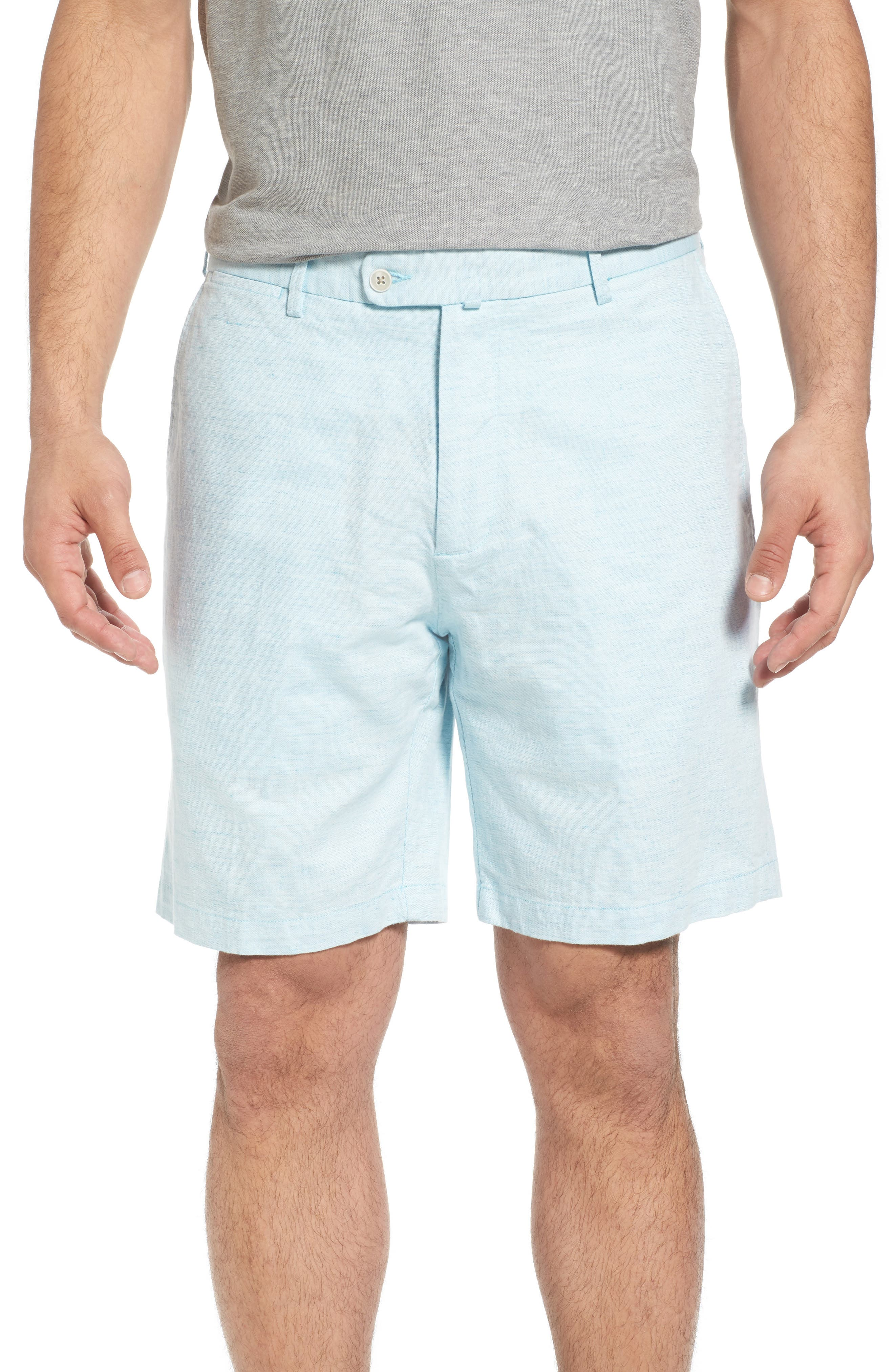 Crown Cool Delave Flat Front Shorts,                             Main thumbnail 1, color,                             Grotto Blue