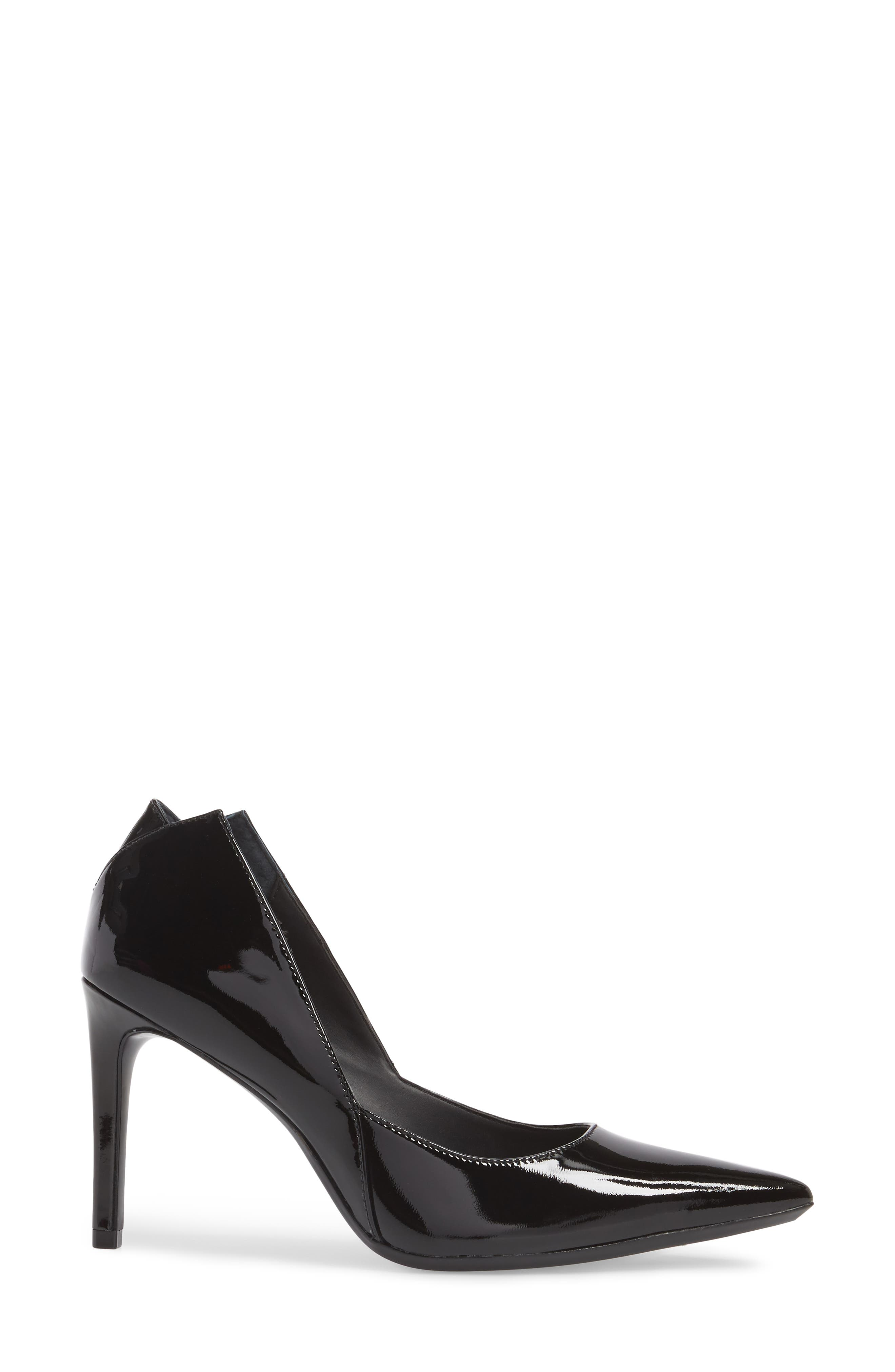 Randa Pointy Toe Pump,                             Alternate thumbnail 3, color,                             Black Leather