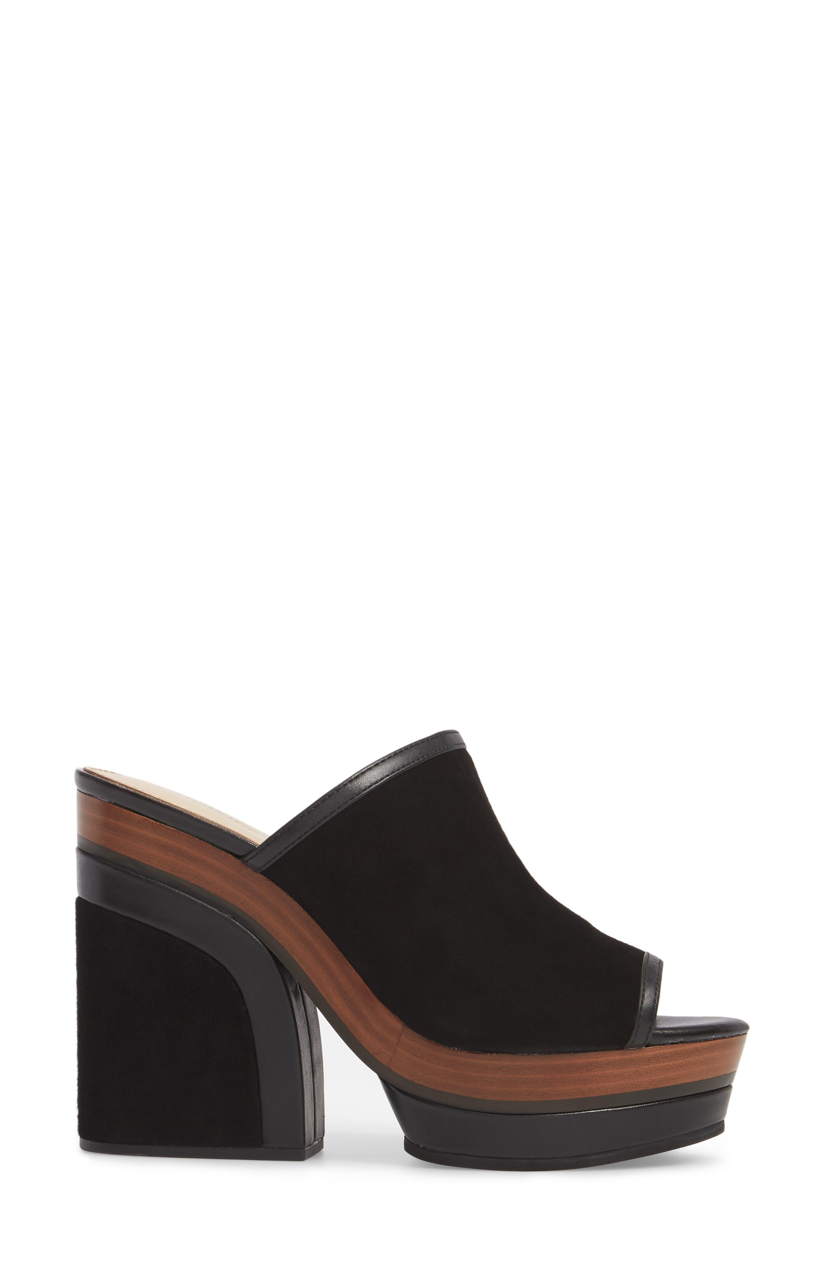 Platform Sandal,                             Alternate thumbnail 3, color,                             Black Suede