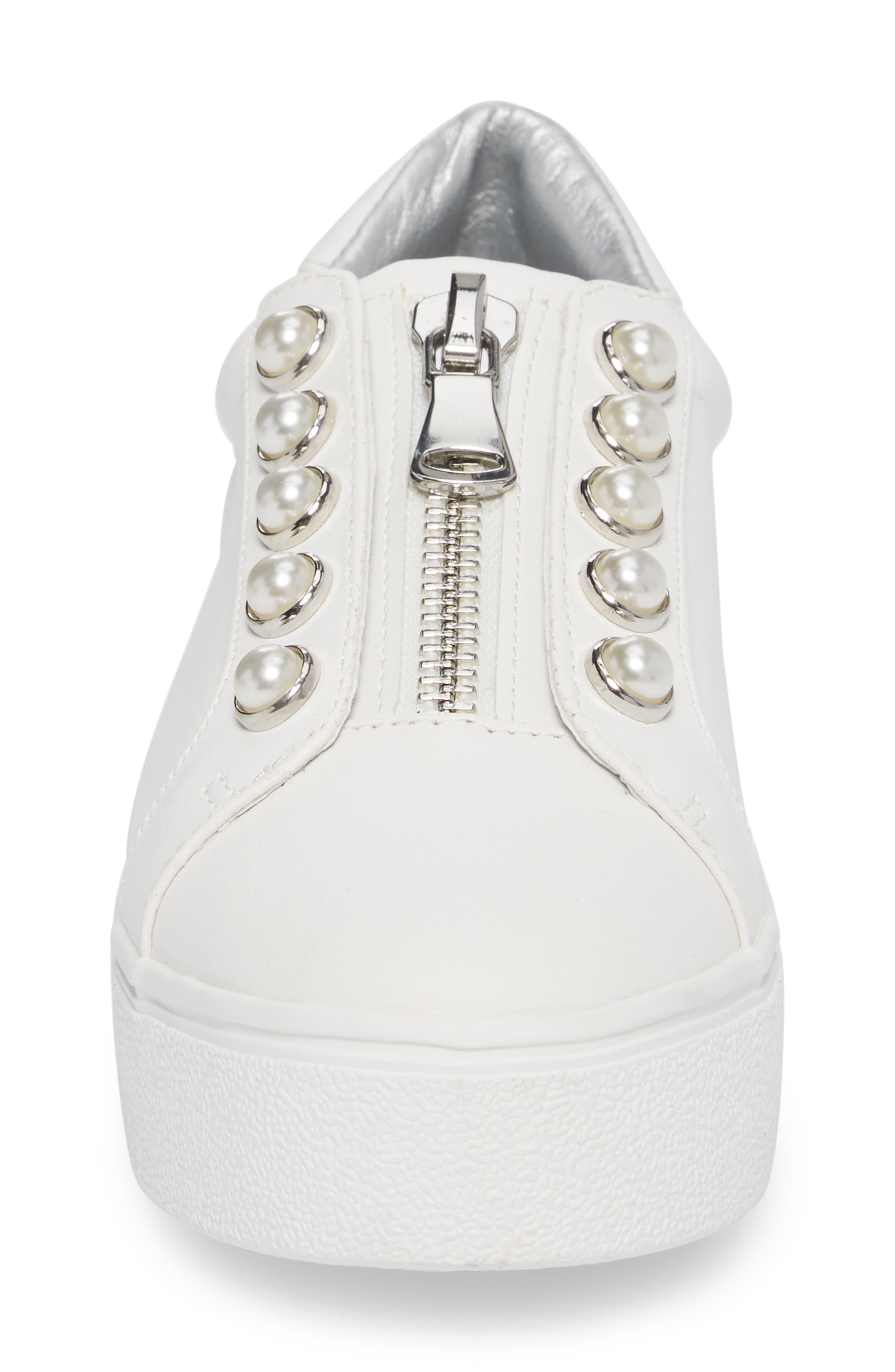 Lynn Embellished Platform Sneaker,                             Alternate thumbnail 4, color,                             White Faux Leather