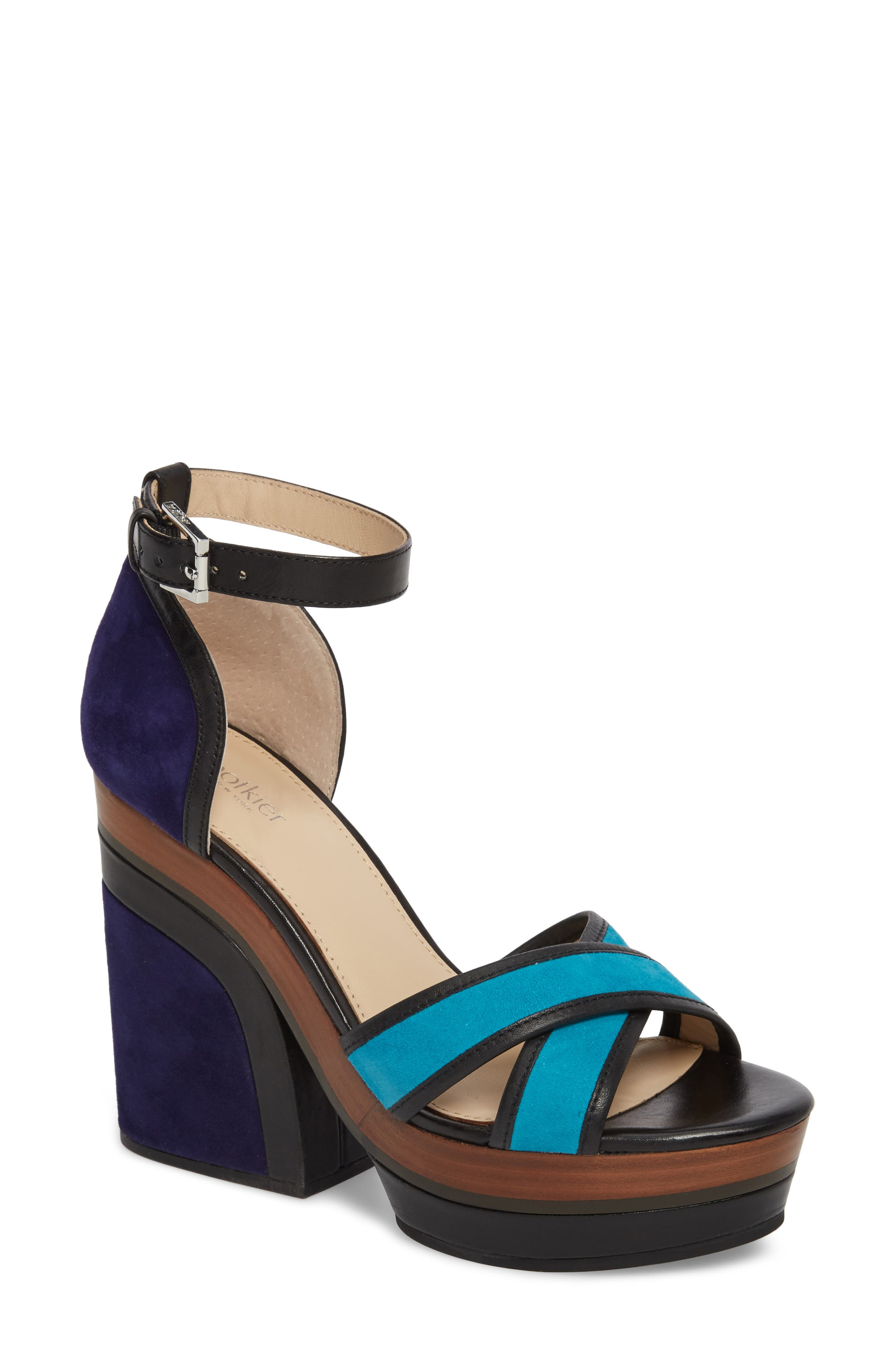 Paloma Ankle Strap Sandal,                             Main thumbnail 1, color,                             Ultra Marine Suede