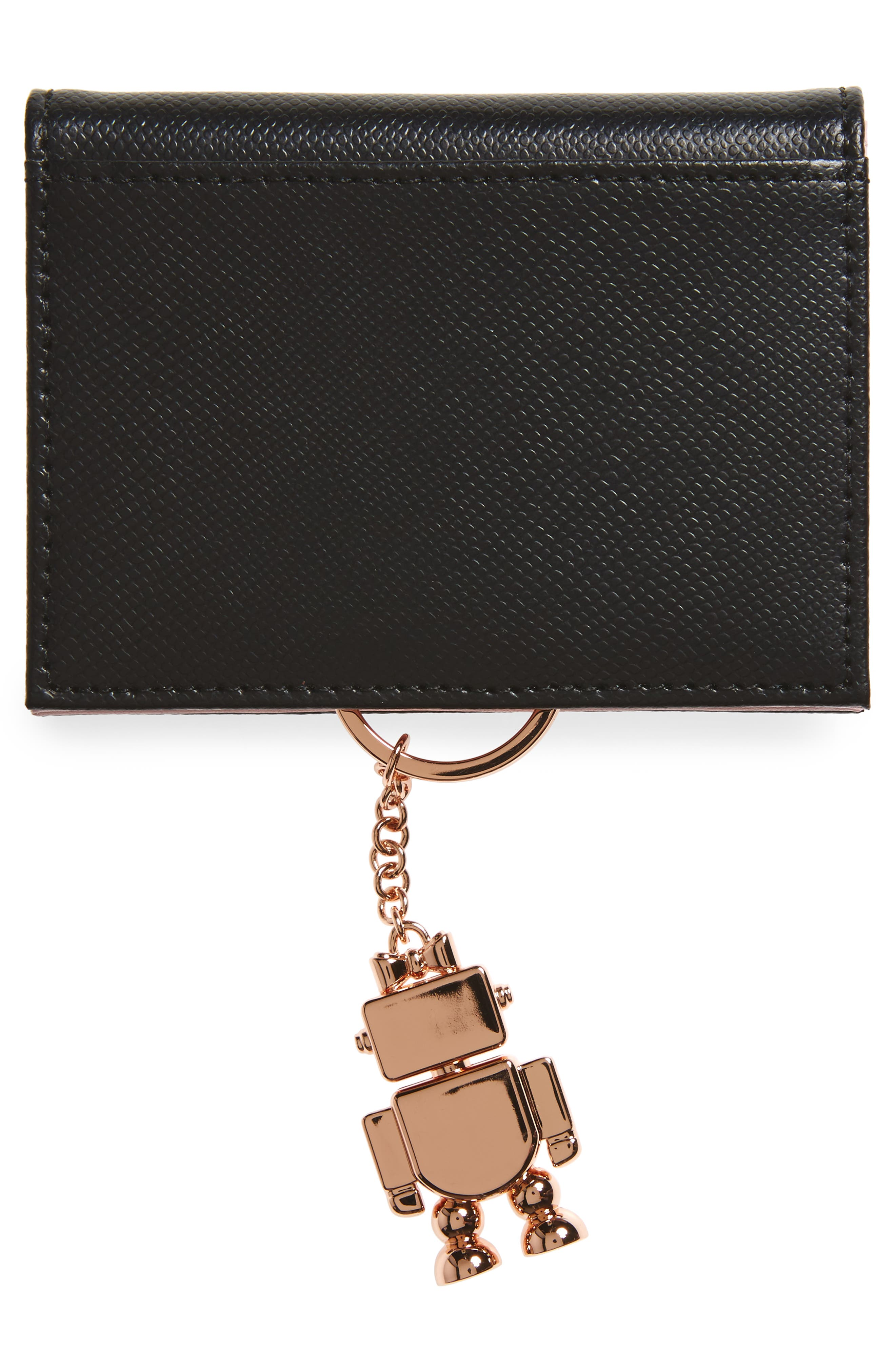 Leather Card Case with Robot Key Chain,                             Alternate thumbnail 3, color,                             Black