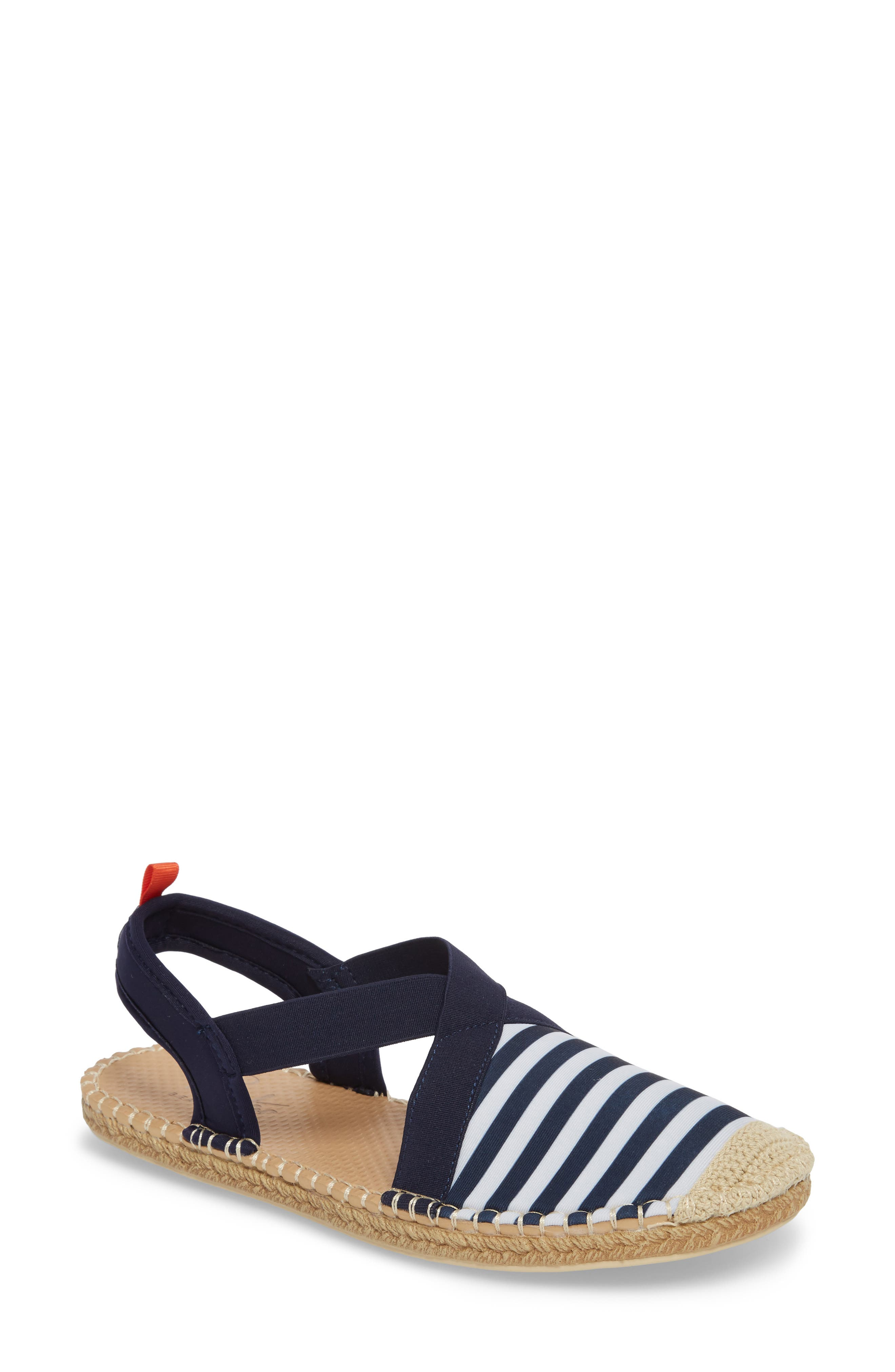 Sea Star Slingback Espadrille Water Shoe,                         Main,                         color, Navy/ White Stripes