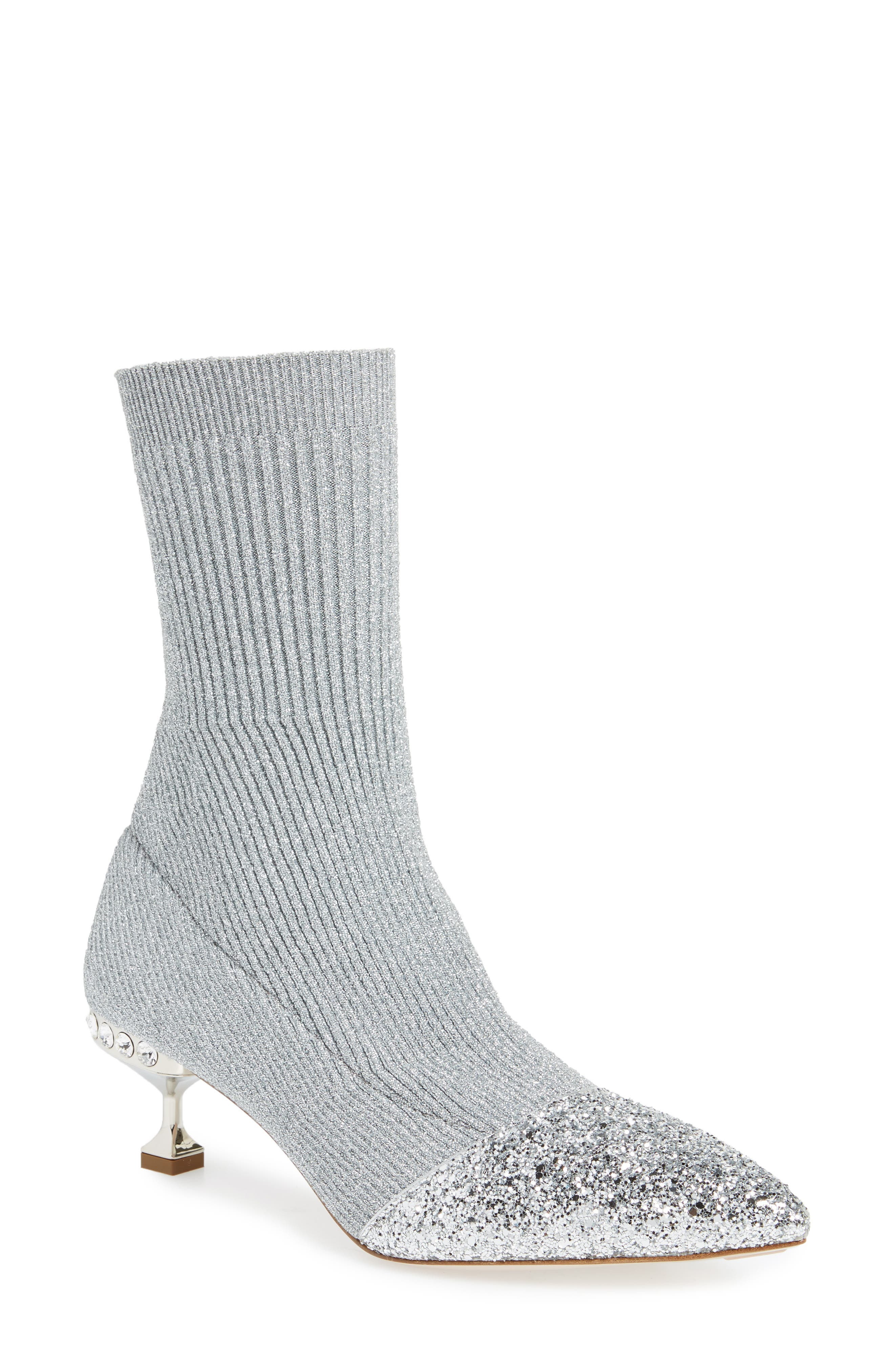 Embellished Metallic Sock Bootie,                         Main,                         color, Silver