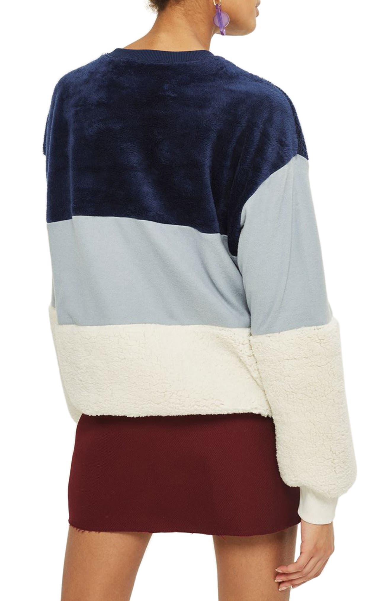 Alternate Image 2  - Topshop Colorblock Fleece Sweatshirt