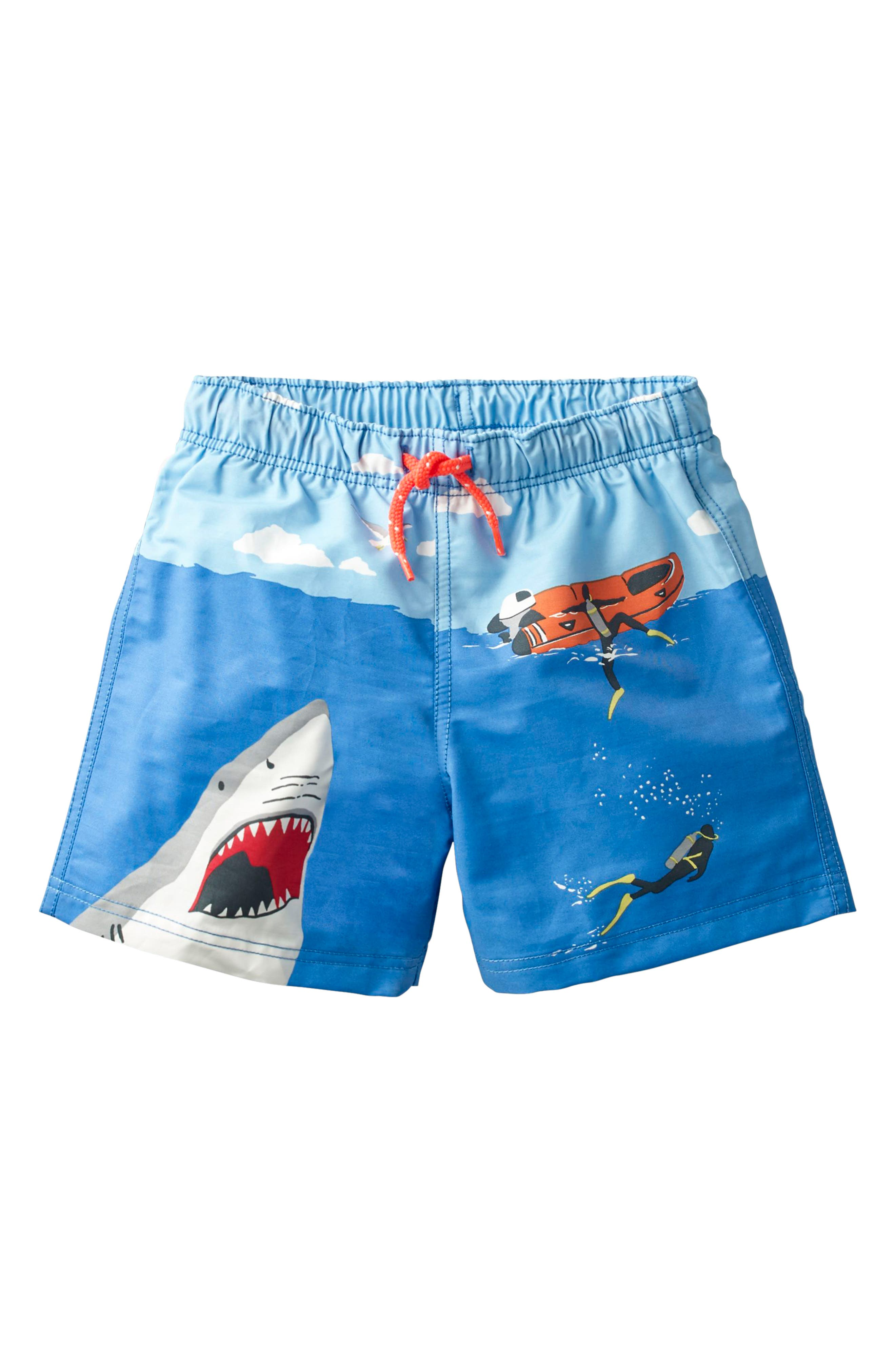 Bathers Shark Swim Trunks,                         Main,                         color, Skipper Blue Shark Attack