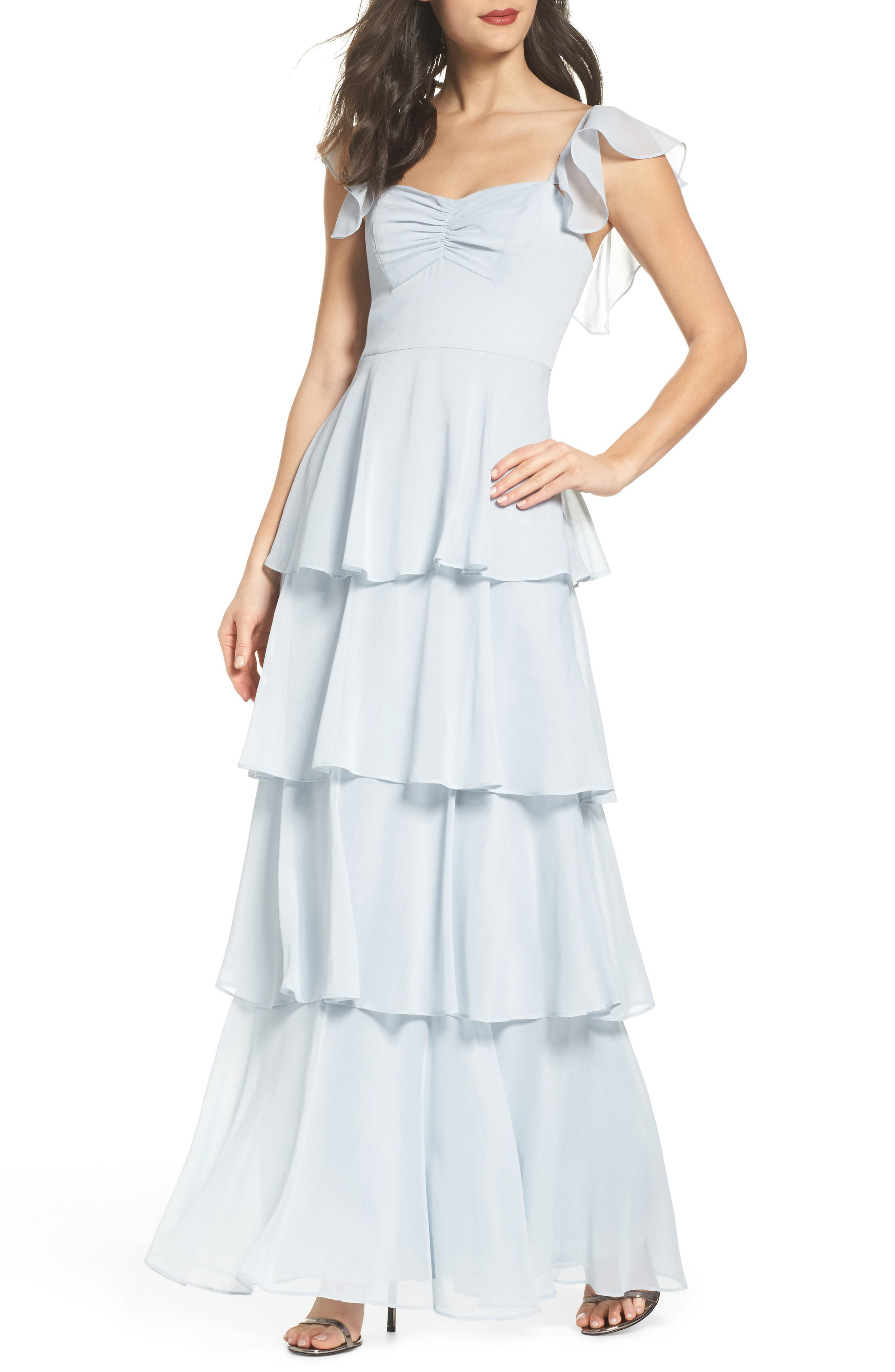 Abby Off the Shoulder Tiered Dress,                             Main thumbnail 1, color,                             Ocean Mist