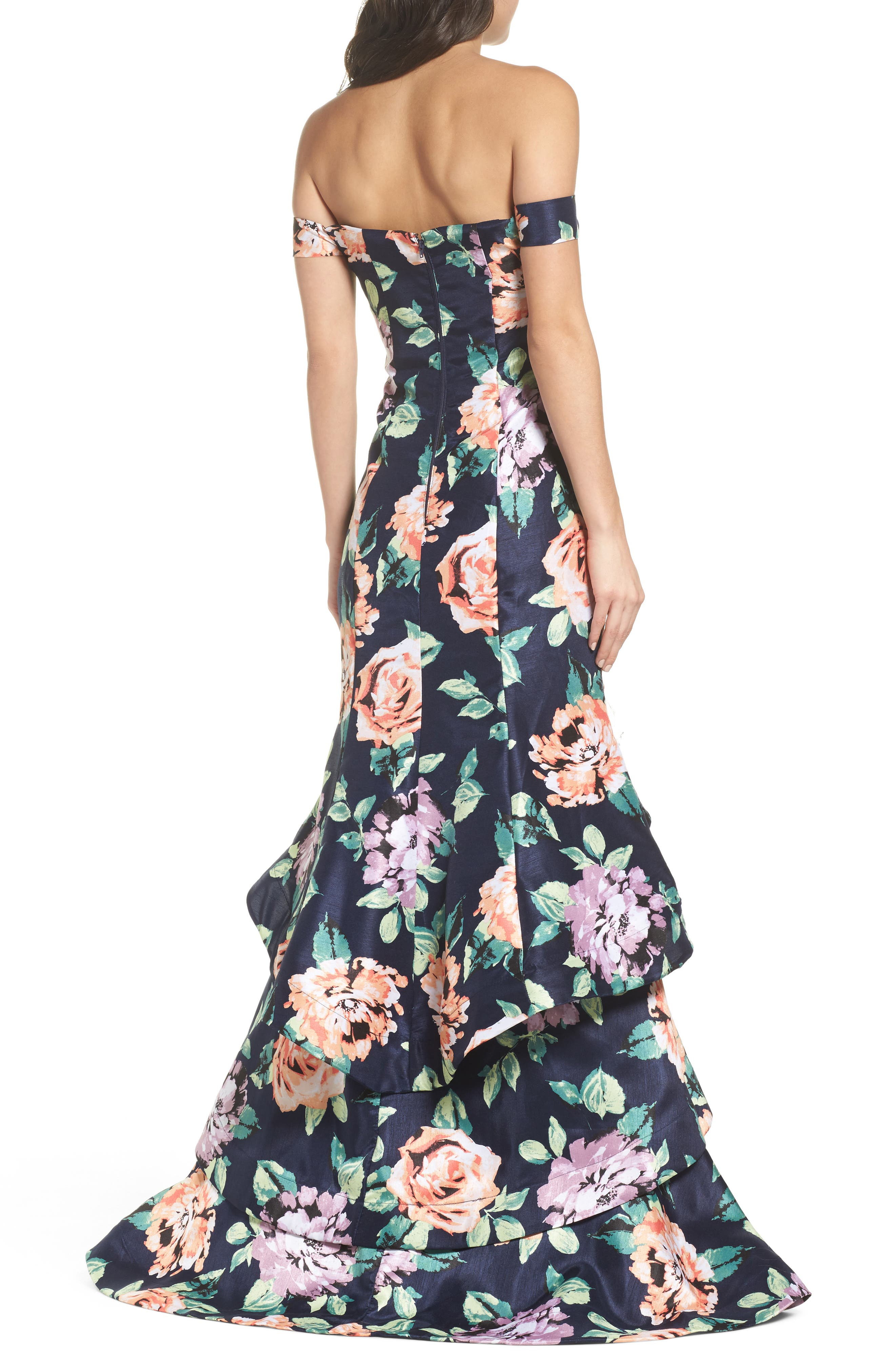 Print Shantung Off the Shoulder Gown,                             Alternate thumbnail 2, color,                             Navy/ Peach