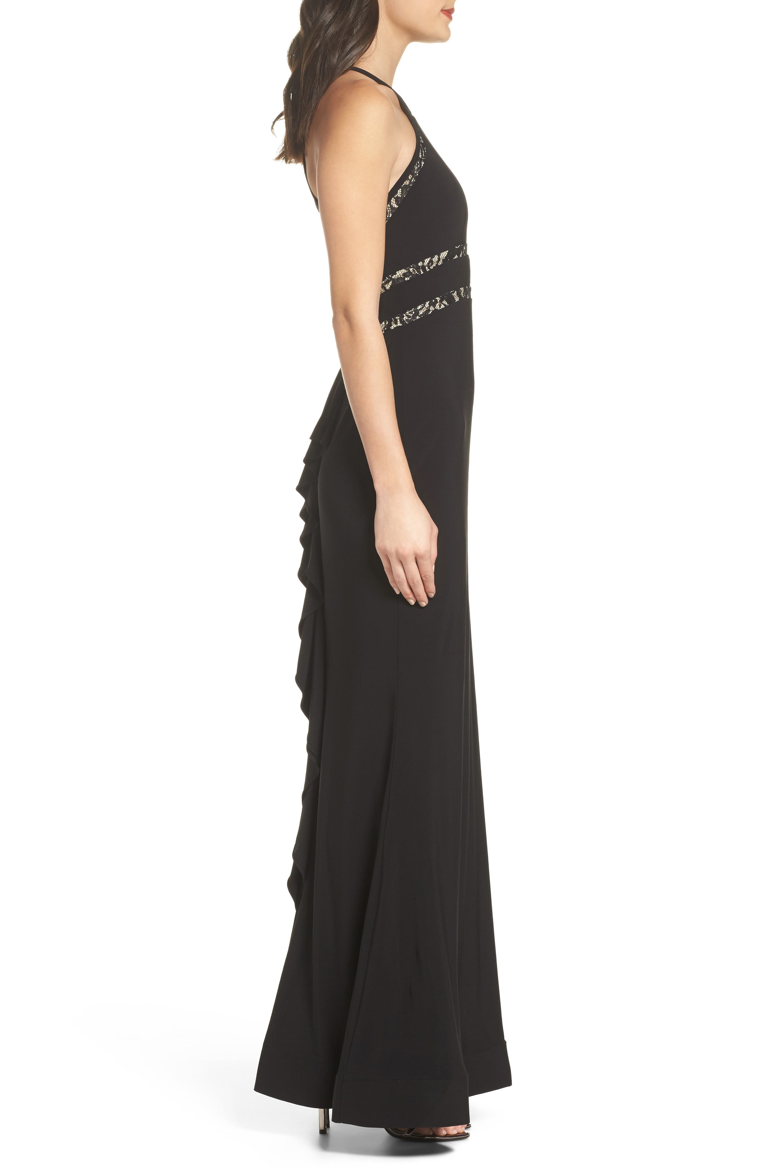 Ruffle Back Halter Gown,                             Alternate thumbnail 3, color,                             Black/ Nude