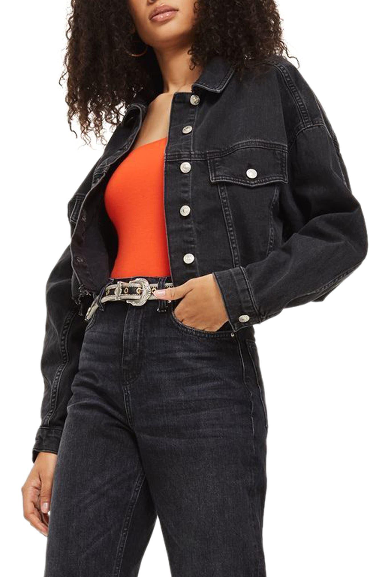 Main Image - Topshop Raw Edge Crop Denim Jacket