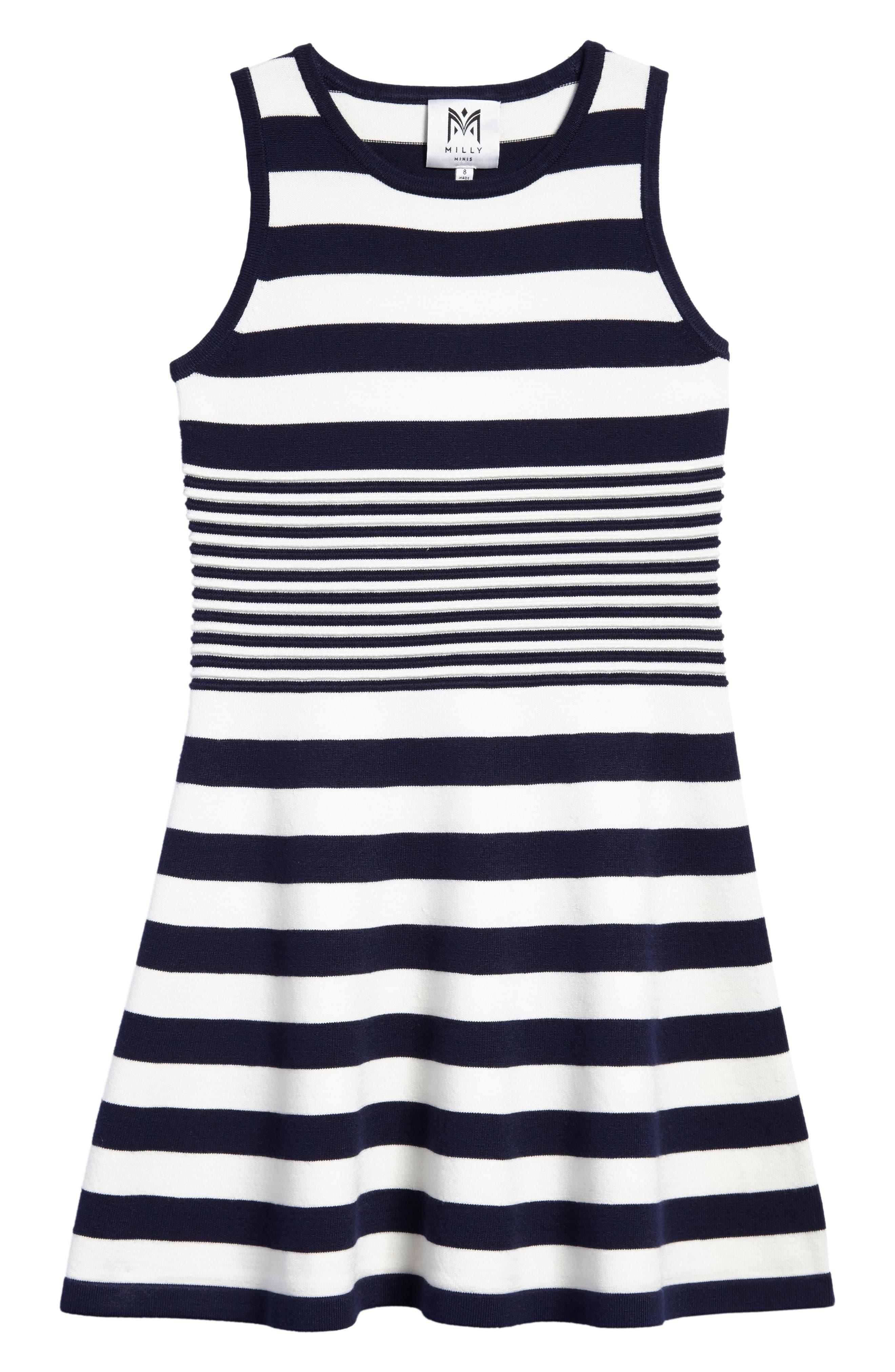 Stripe Sleeveless Dress,                         Main,                         color, White/ Navy
