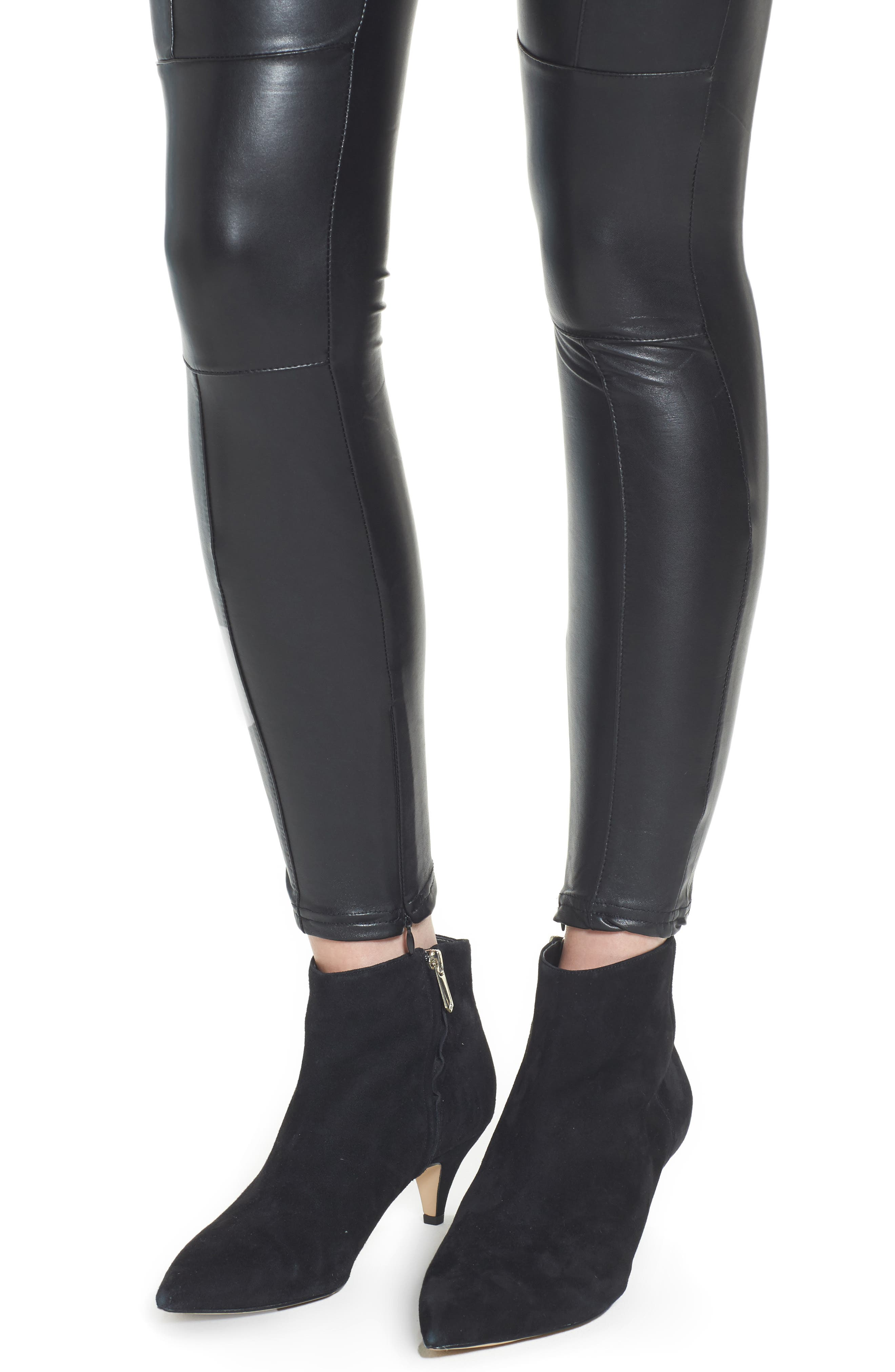 Bishop + Young Faux Leather Ankle Leggings,                             Alternate thumbnail 4, color,                             Black